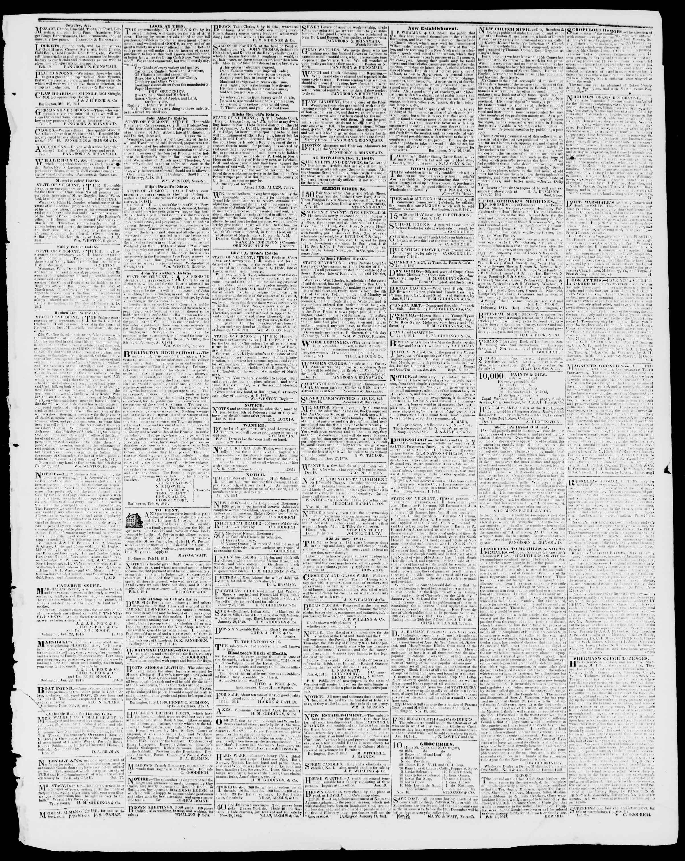 Newspaper of Burlington Free Press dated February 26, 1841 Page 3