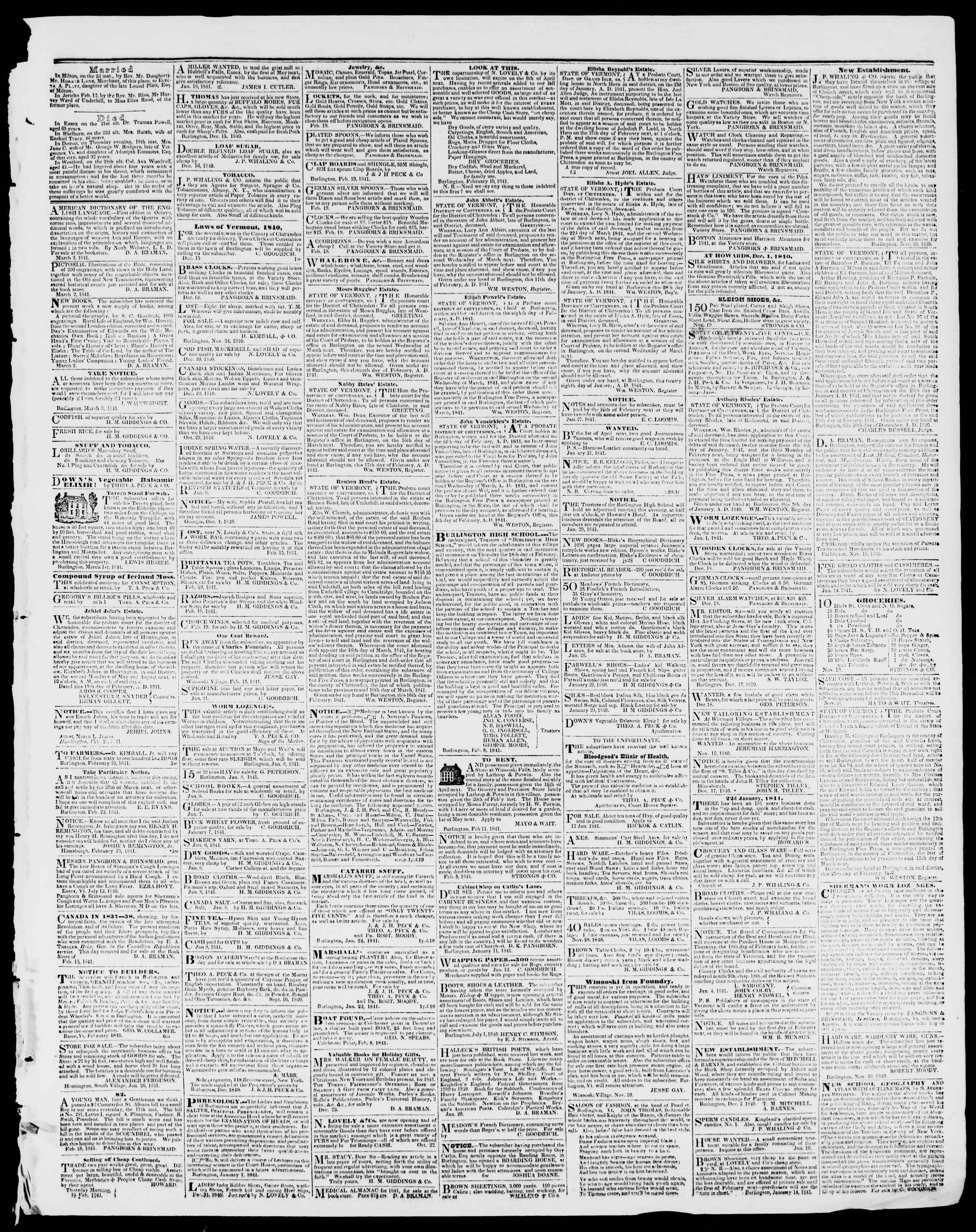 Newspaper of Burlington Free Press dated March 5, 1841 Page 3