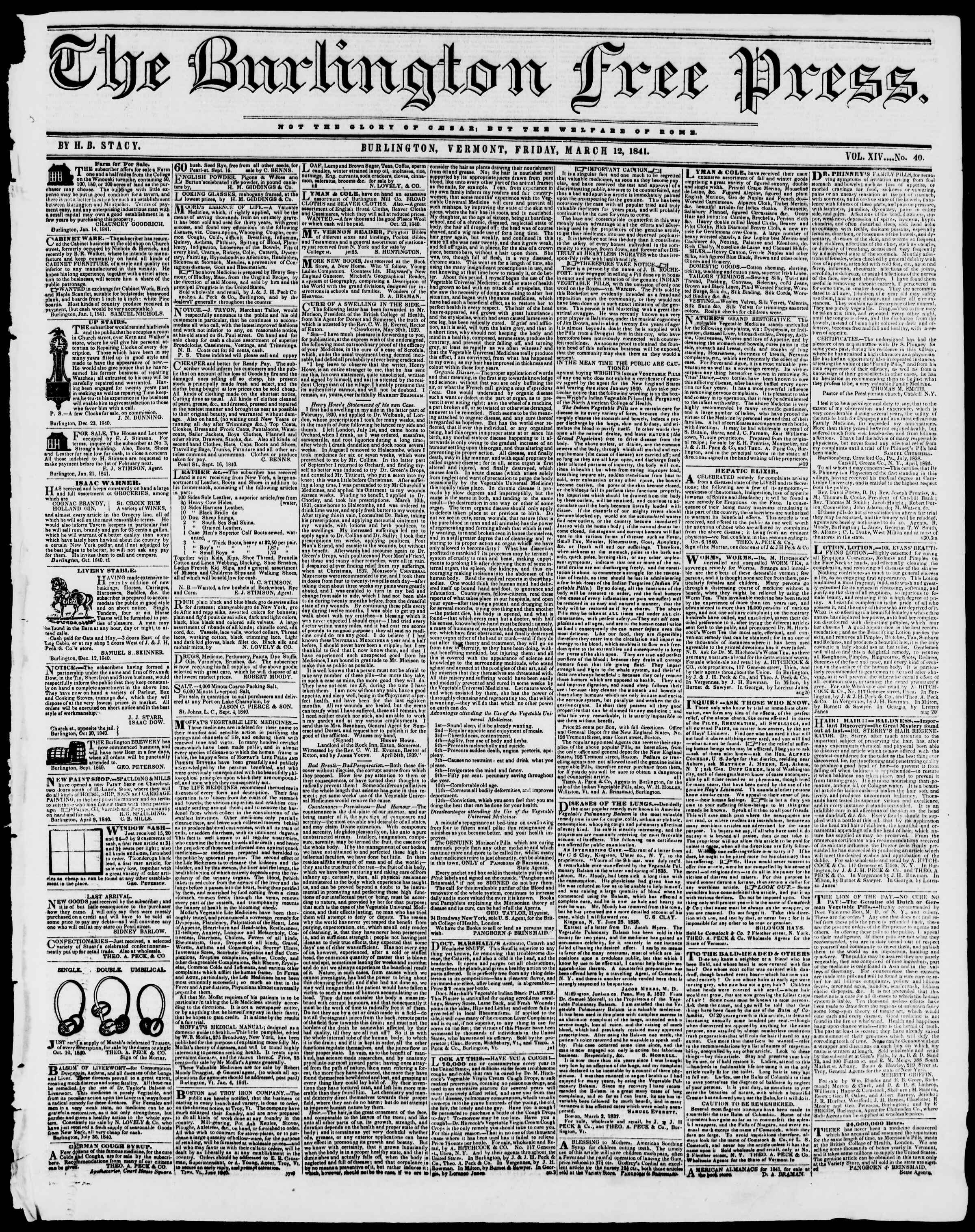 Newspaper of Burlington Free Press dated March 12, 1841 Page 1