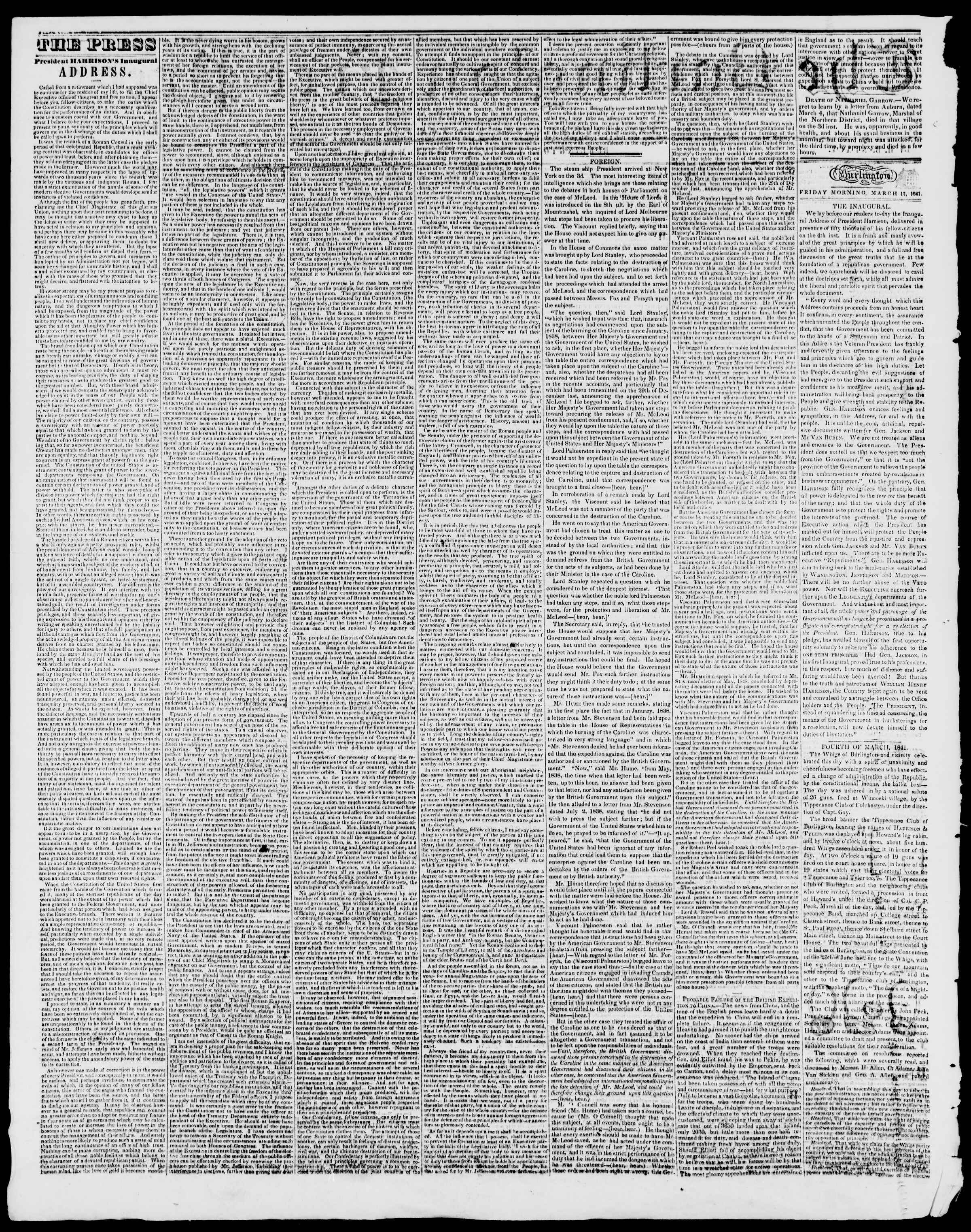 Newspaper of Burlington Free Press dated March 12, 1841 Page 2