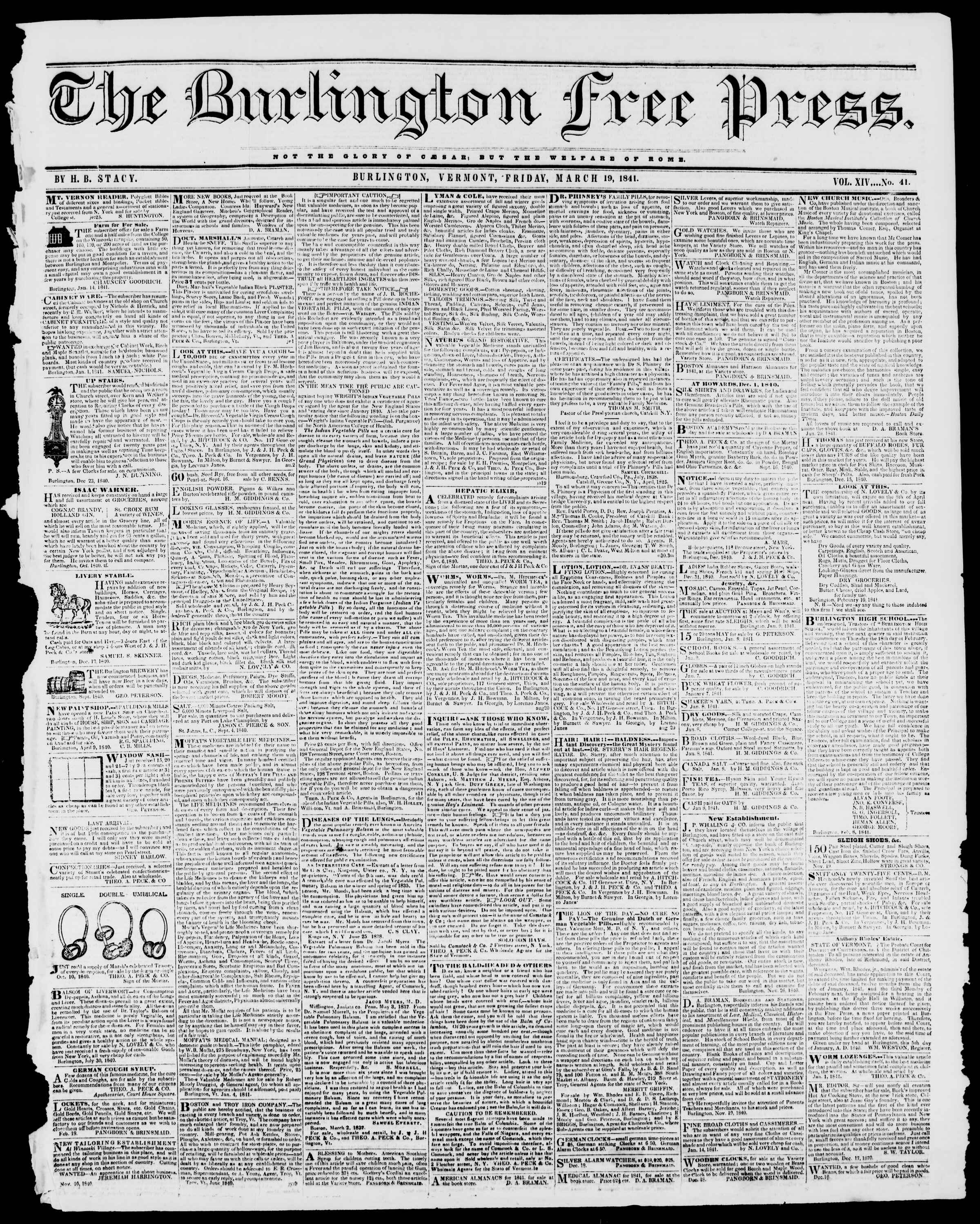 Newspaper of Burlington Free Press dated March 19, 1841 Page 1