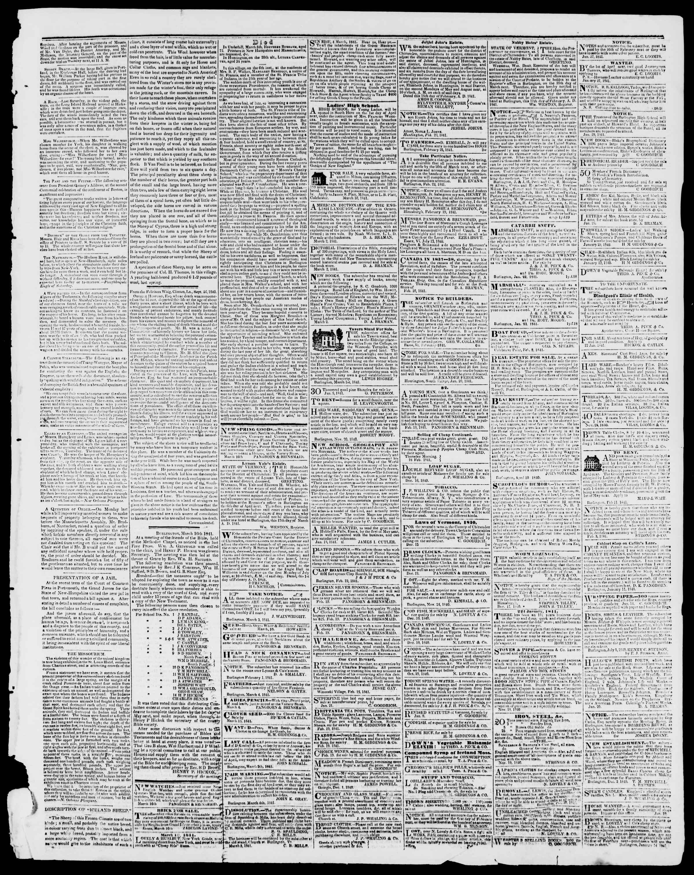 Newspaper of Burlington Free Press dated March 19, 1841 Page 3