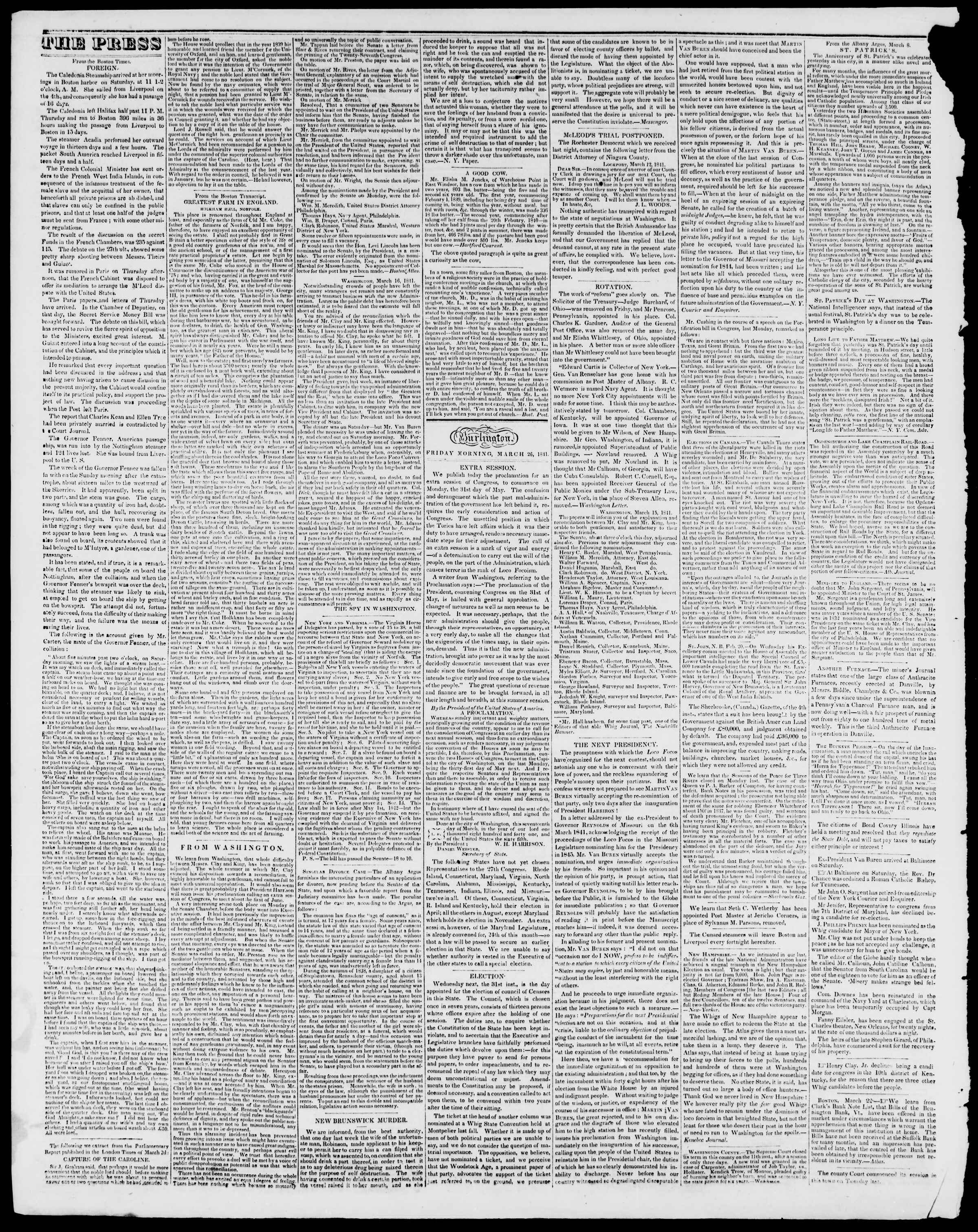 Newspaper of Burlington Free Press dated March 26, 1841 Page 2