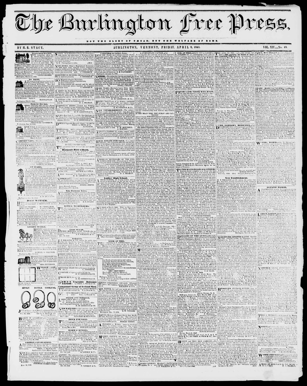 Newspaper of Burlington Free Press dated April 2, 1841 Page 1