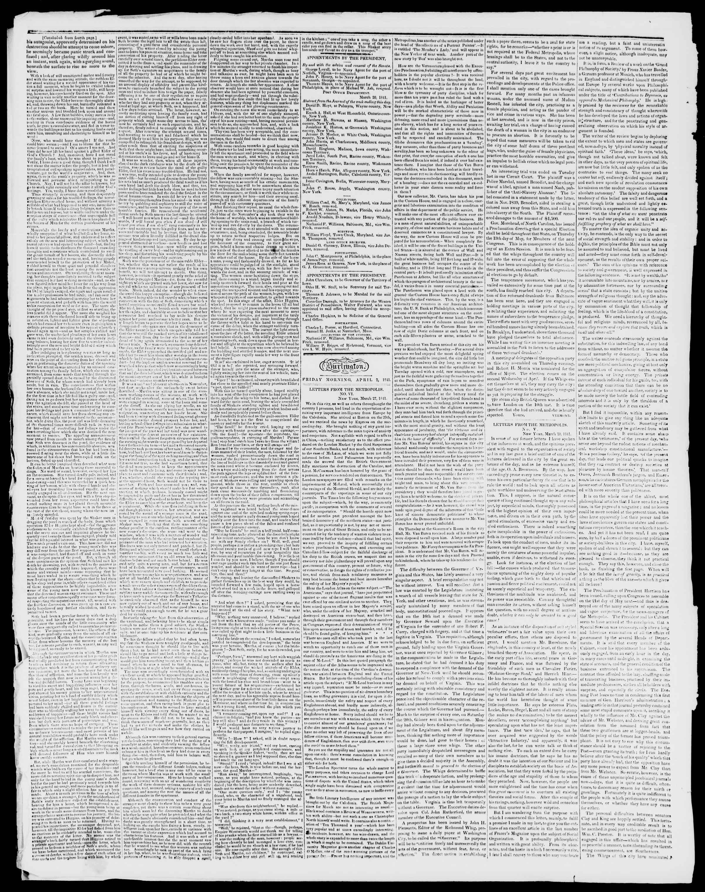Newspaper of Burlington Free Press dated April 2, 1841 Page 2