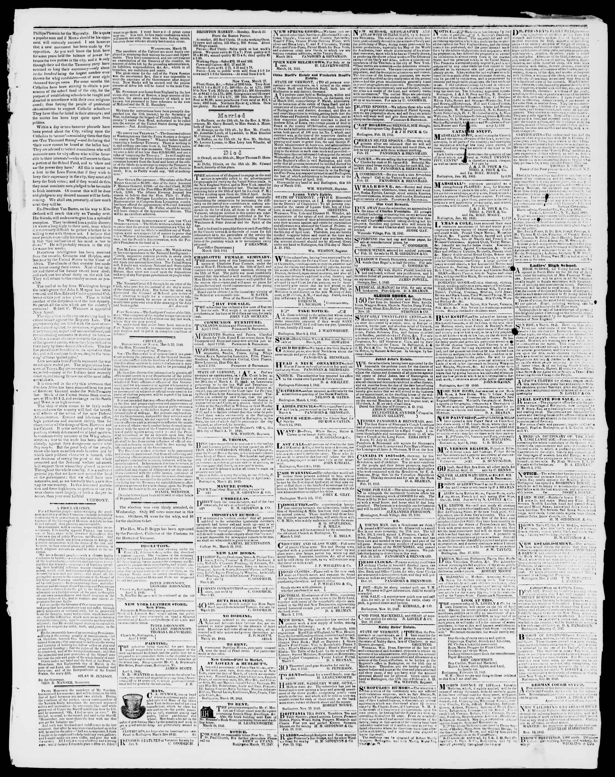Newspaper of Burlington Free Press dated April 2, 1841 Page 3