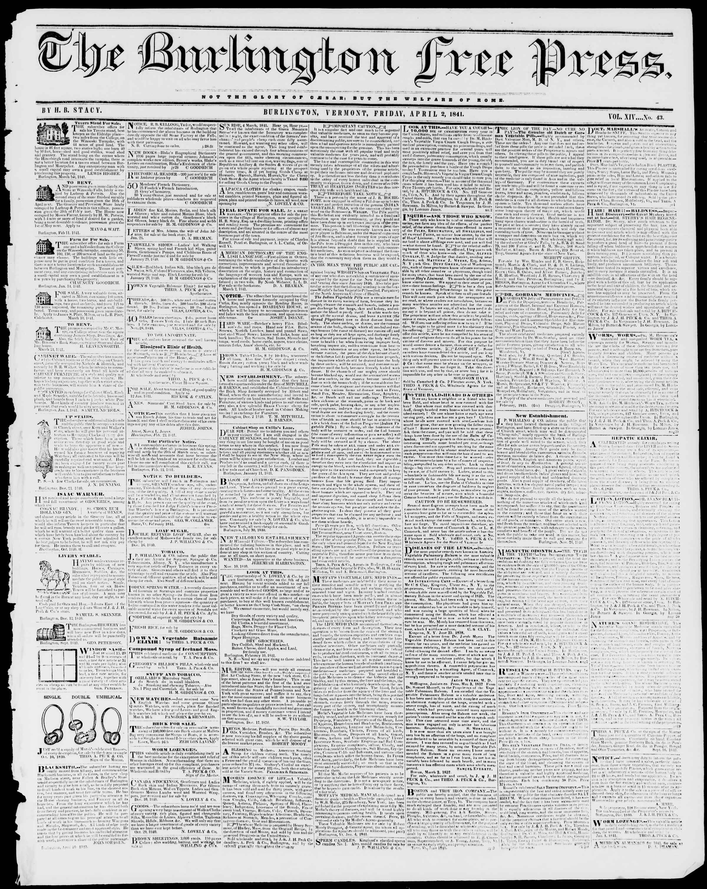 Newspaper of Burlington Free Press dated April 9, 1841 Page 1