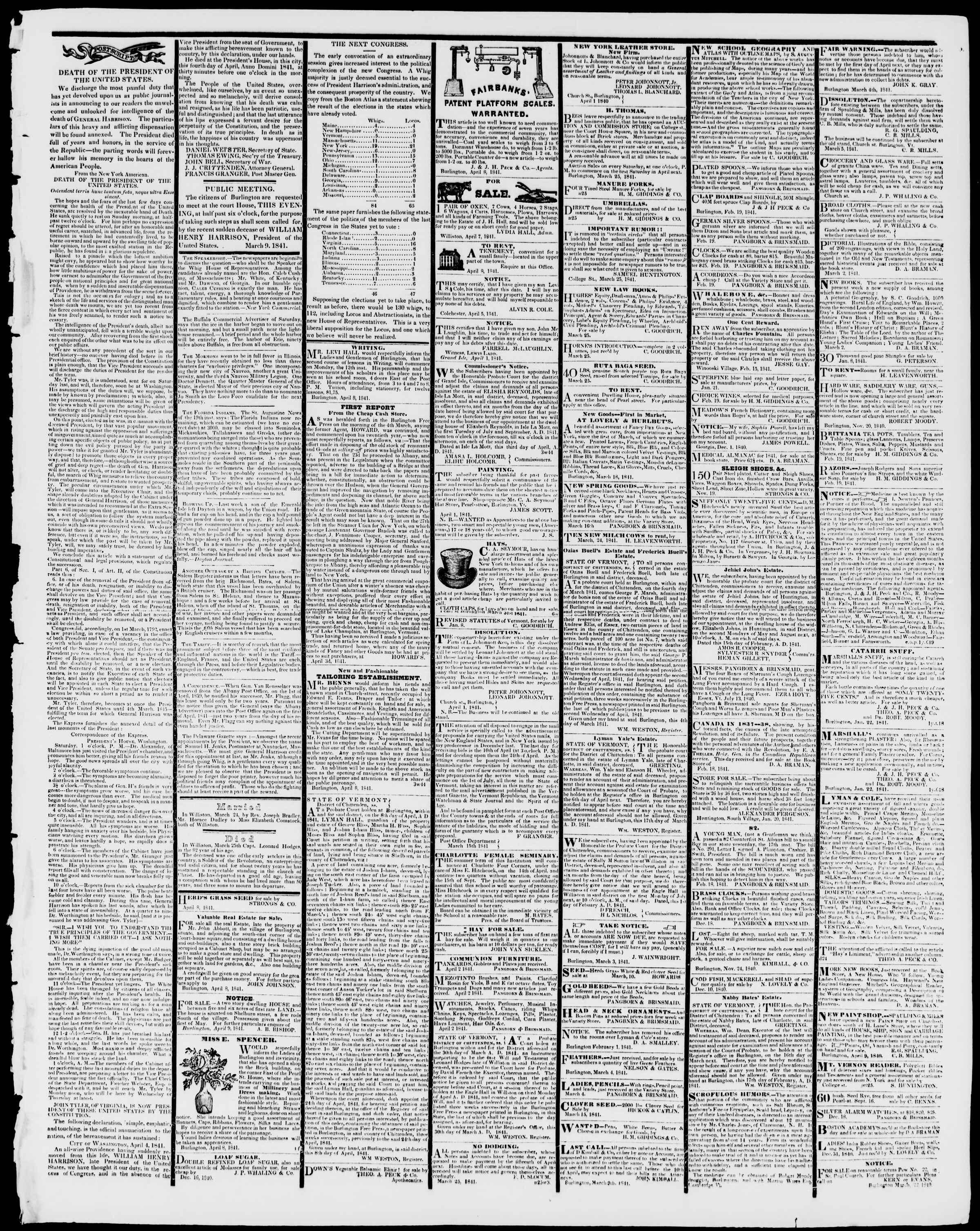 Newspaper of Burlington Free Press dated April 9, 1841 Page 3