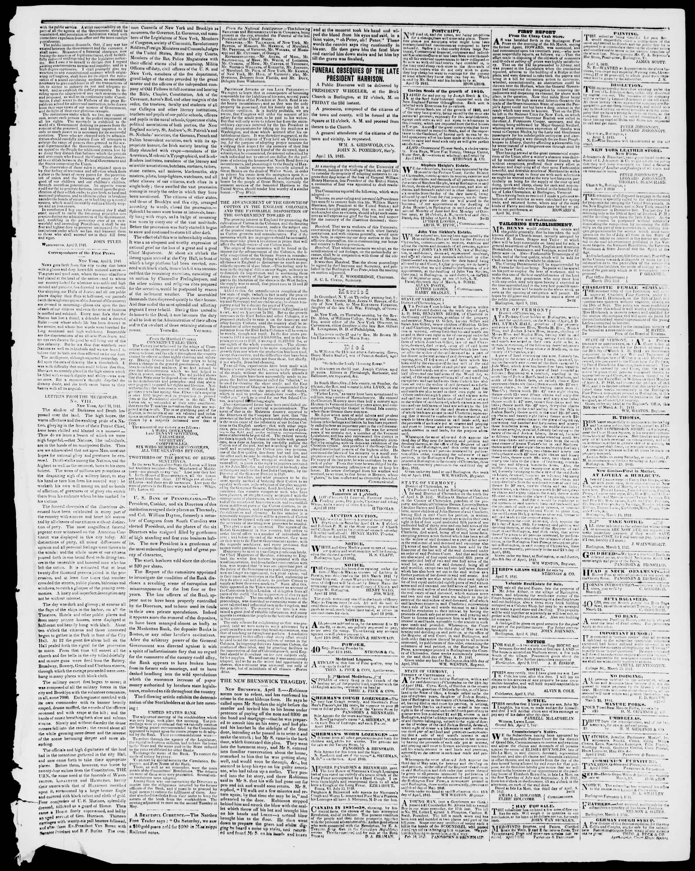 Newspaper of Burlington Free Press dated April 16, 1841 Page 3