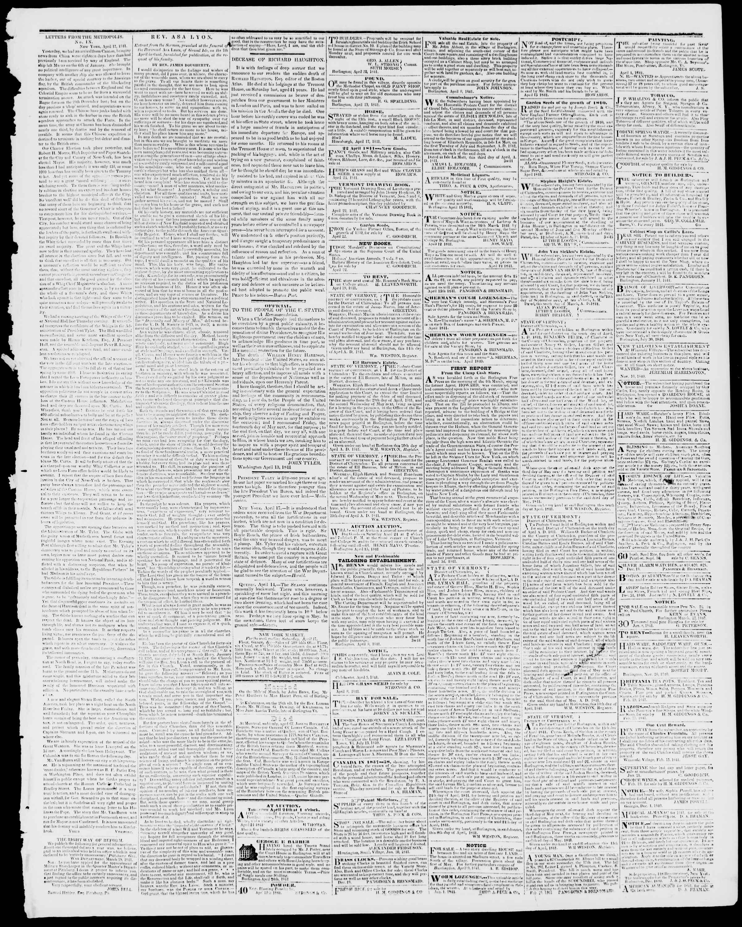 Newspaper of Burlington Free Press dated April 23, 1841 Page 3