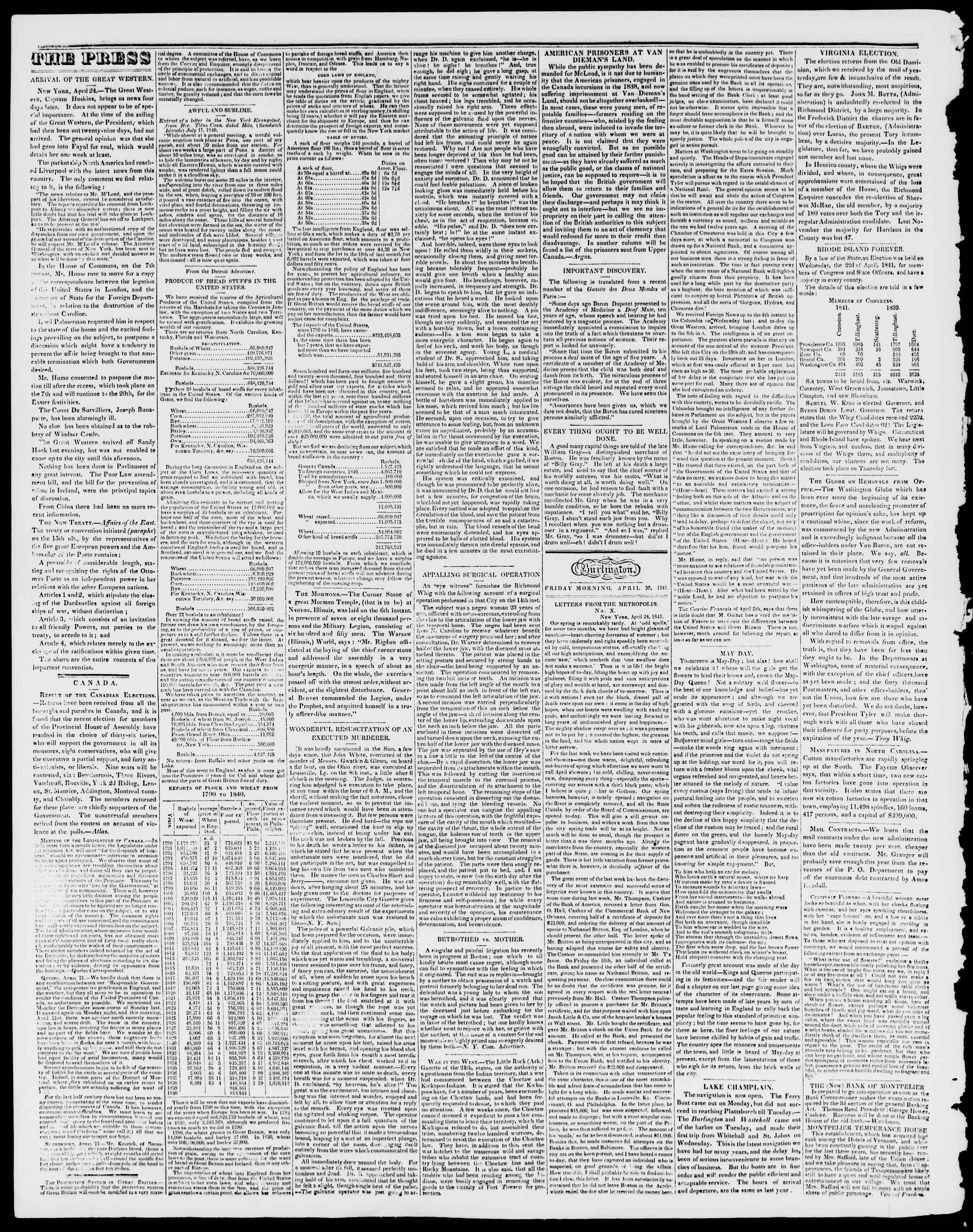 Newspaper of Burlington Free Press dated April 30, 1841 Page 2