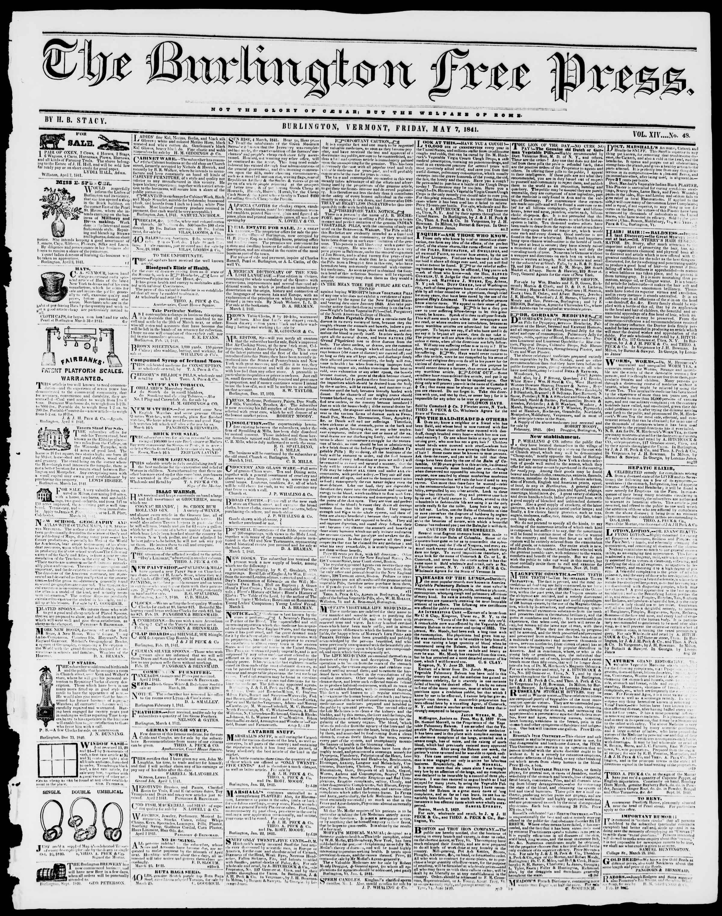 Newspaper of Burlington Free Press dated May 7, 1841 Page 1