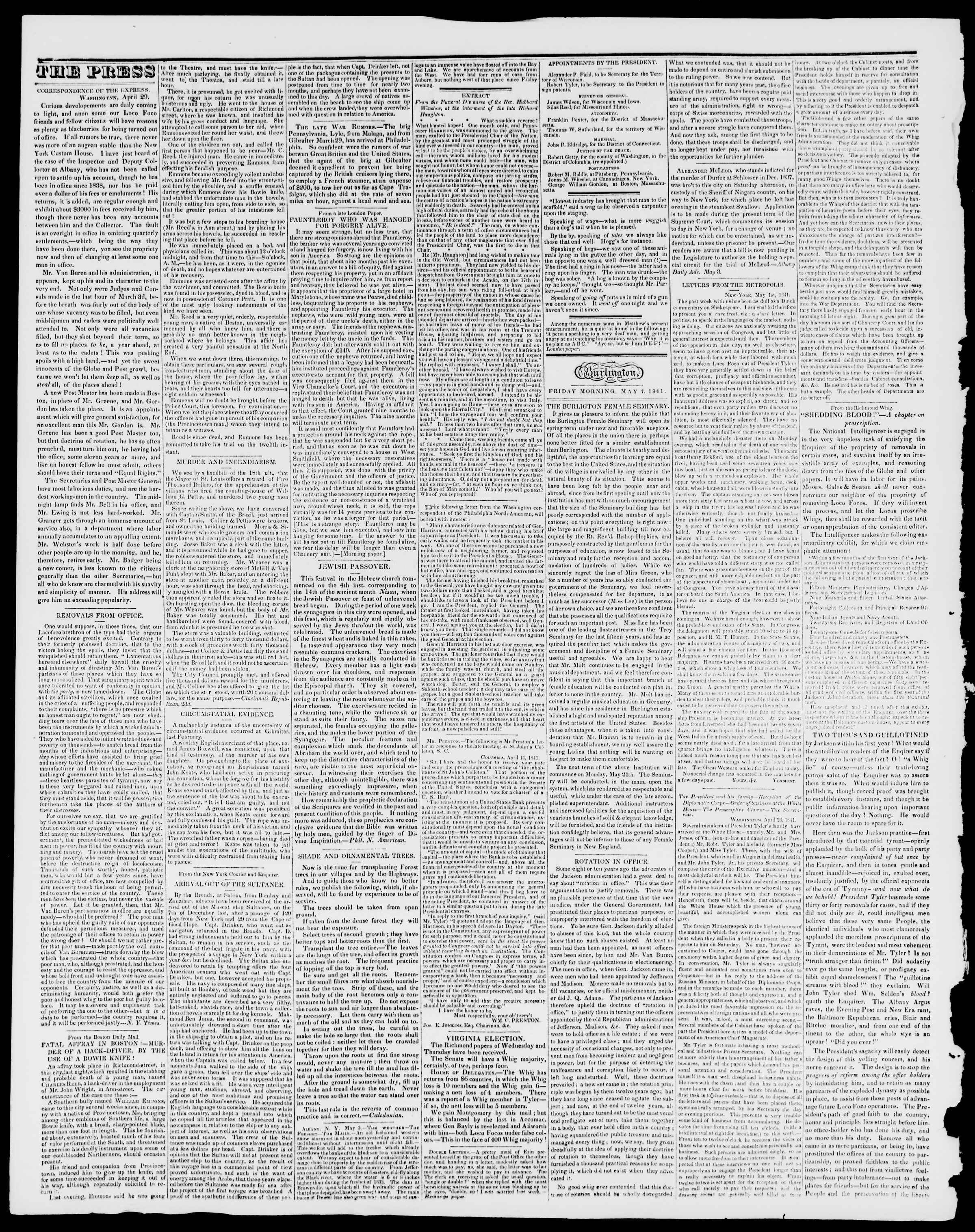 Newspaper of Burlington Free Press dated May 7, 1841 Page 2