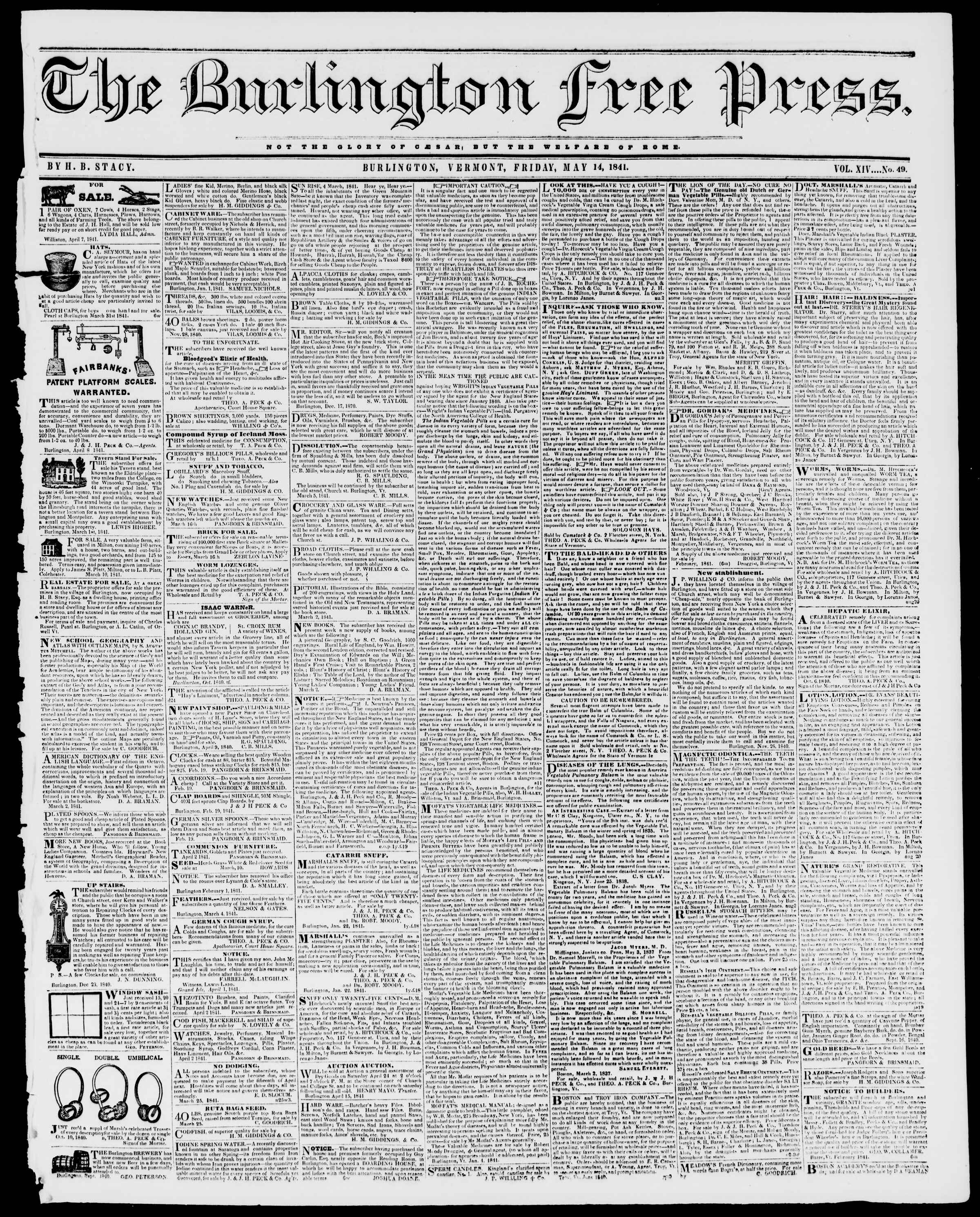 Newspaper of Burlington Free Press dated May 14, 1841 Page 1