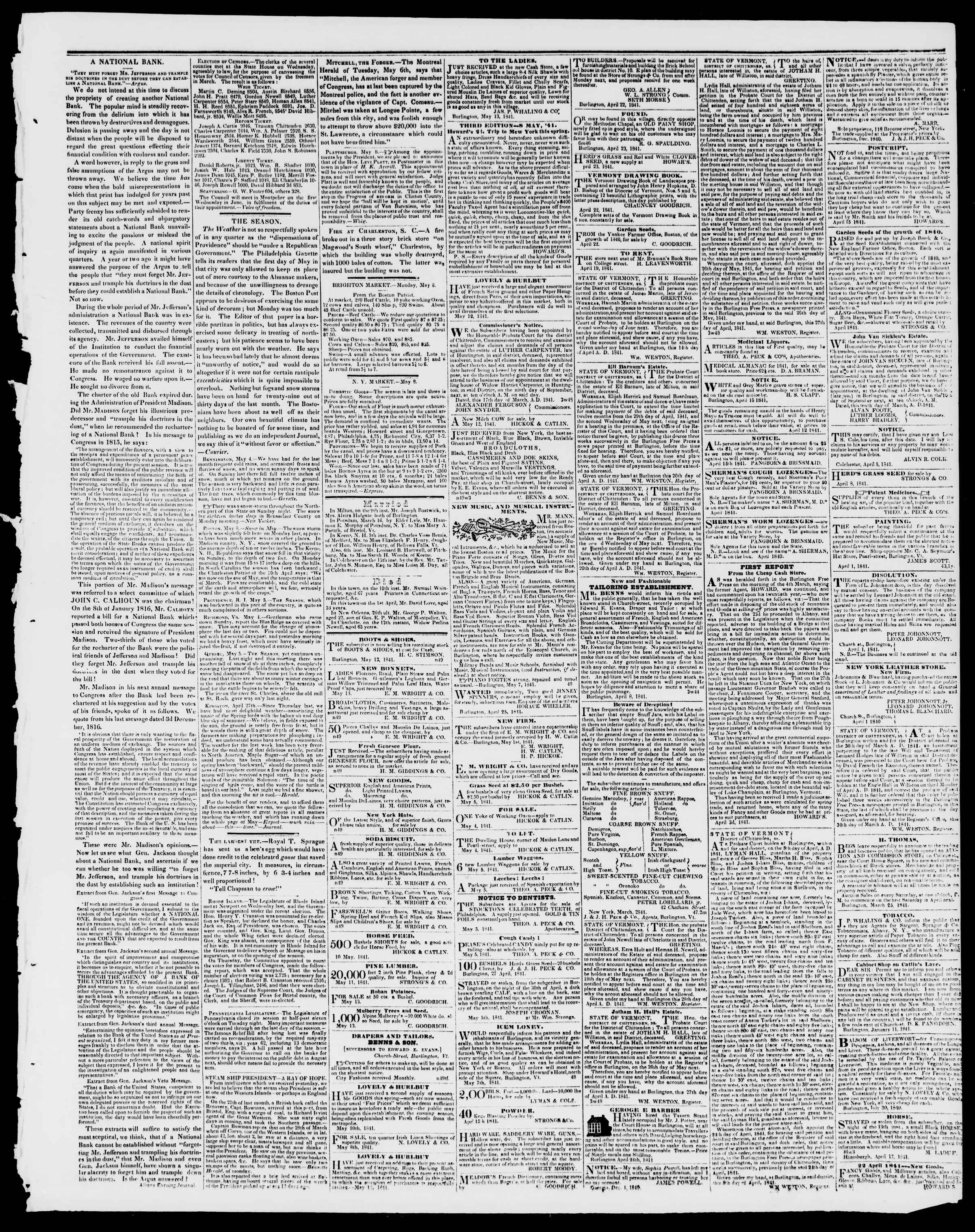 Newspaper of Burlington Free Press dated May 14, 1841 Page 3