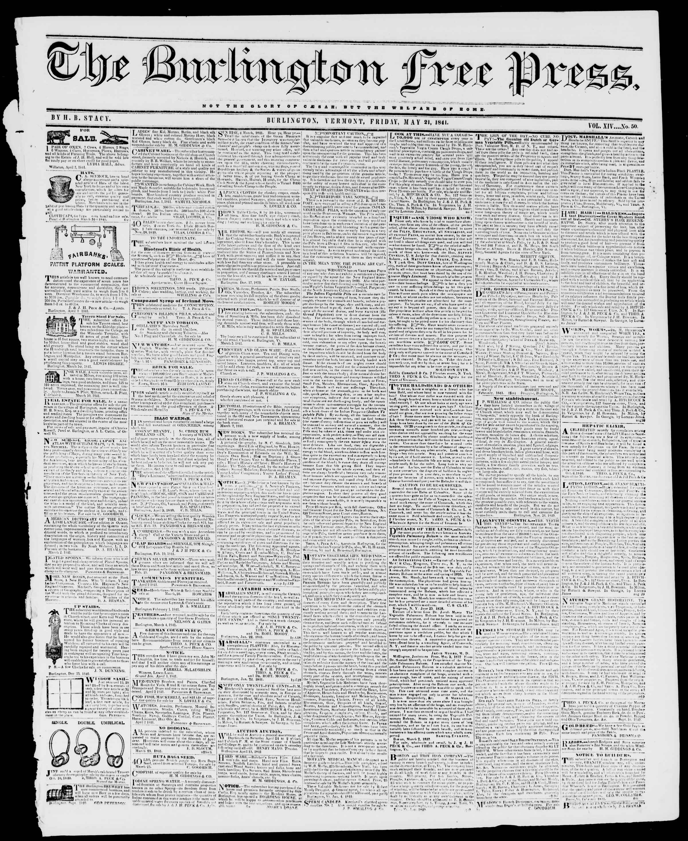 Newspaper of Burlington Free Press dated May 21, 1841 Page 1