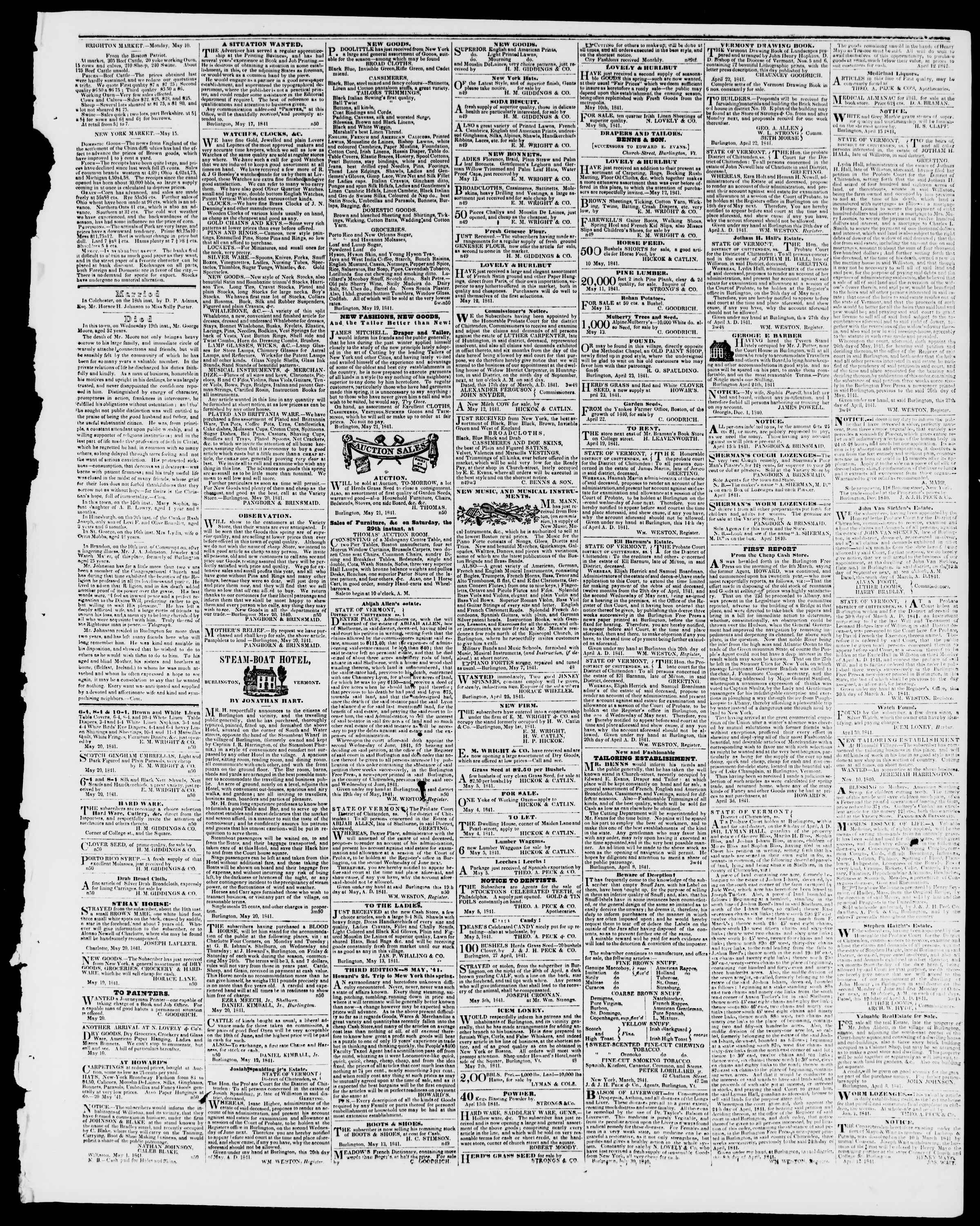 Newspaper of Burlington Free Press dated May 21, 1841 Page 3