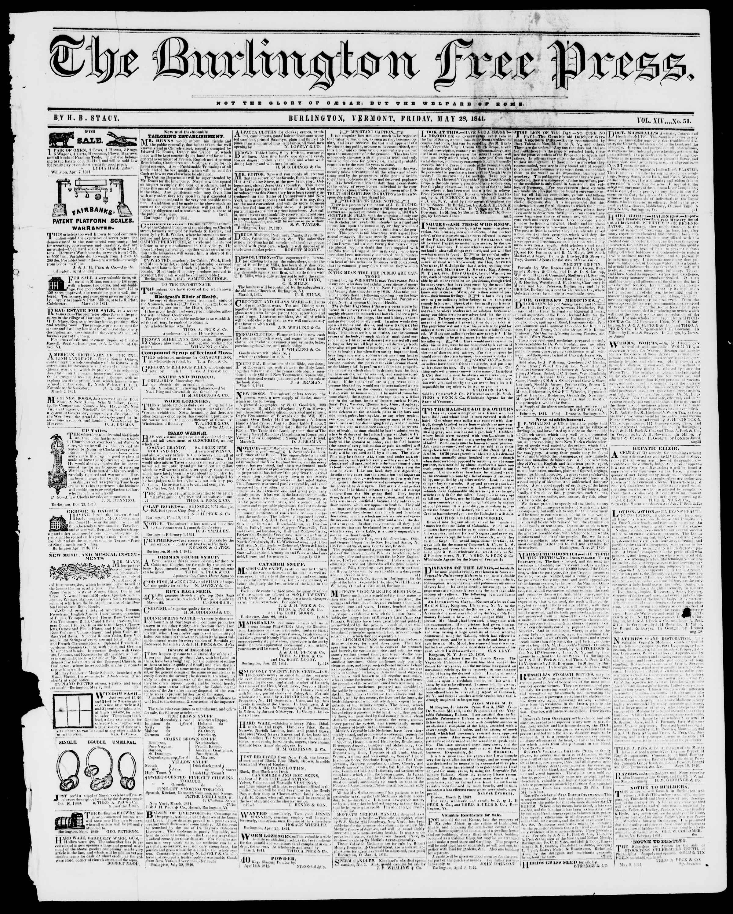 Newspaper of Burlington Free Press dated May 28, 1841 Page 1