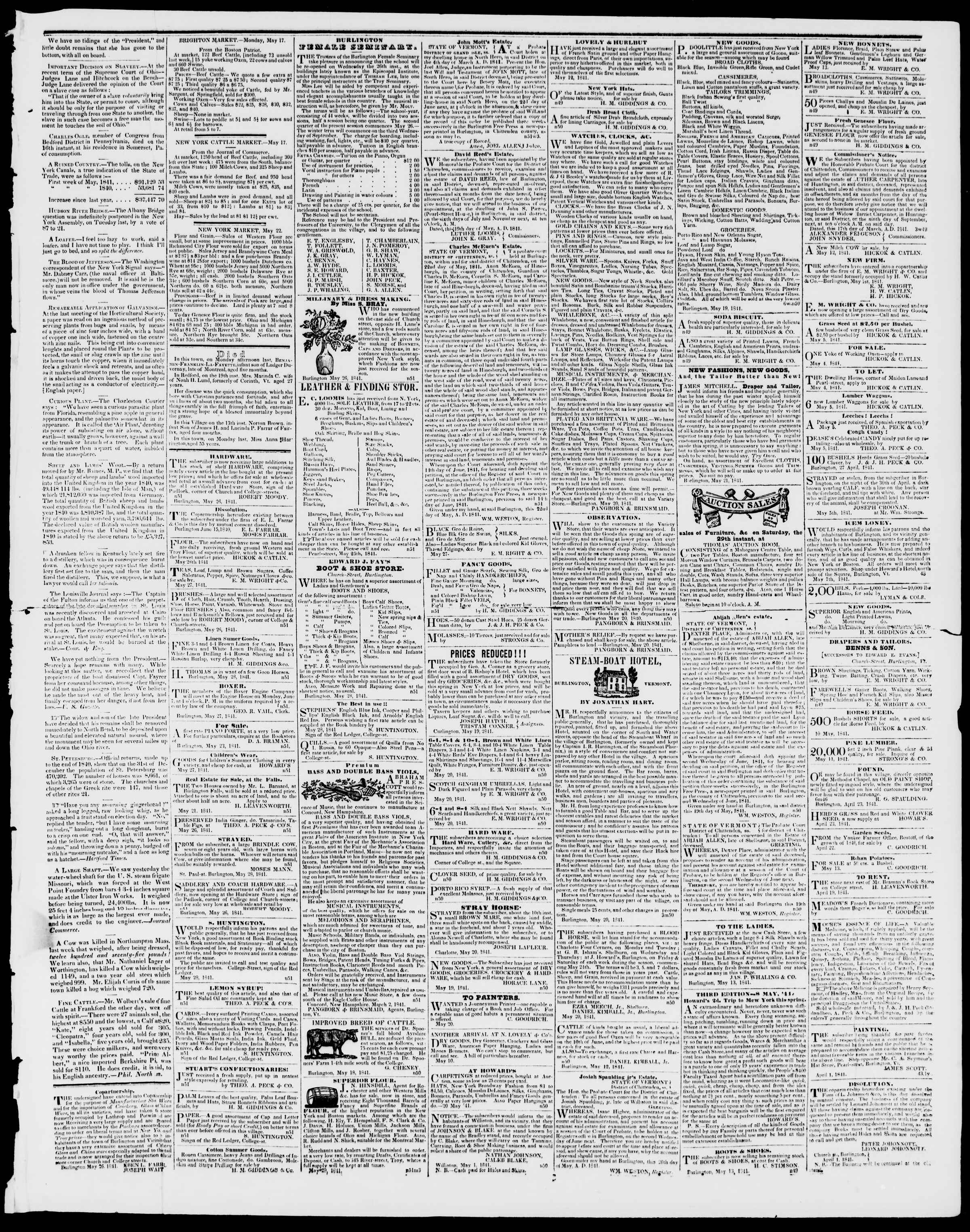 Newspaper of Burlington Free Press dated May 28, 1841 Page 3