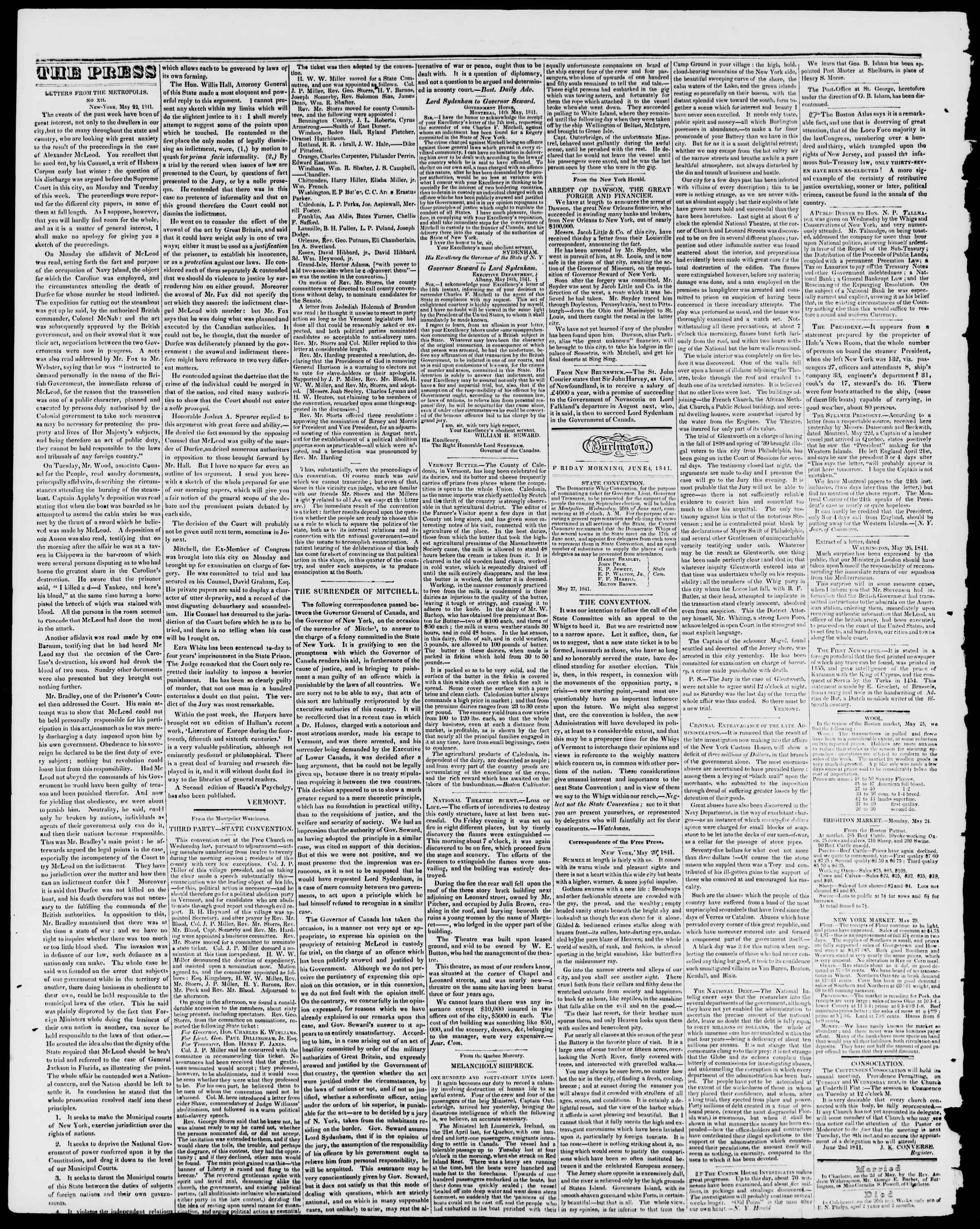 Newspaper of Burlington Free Press dated June 5, 1841 Page 2