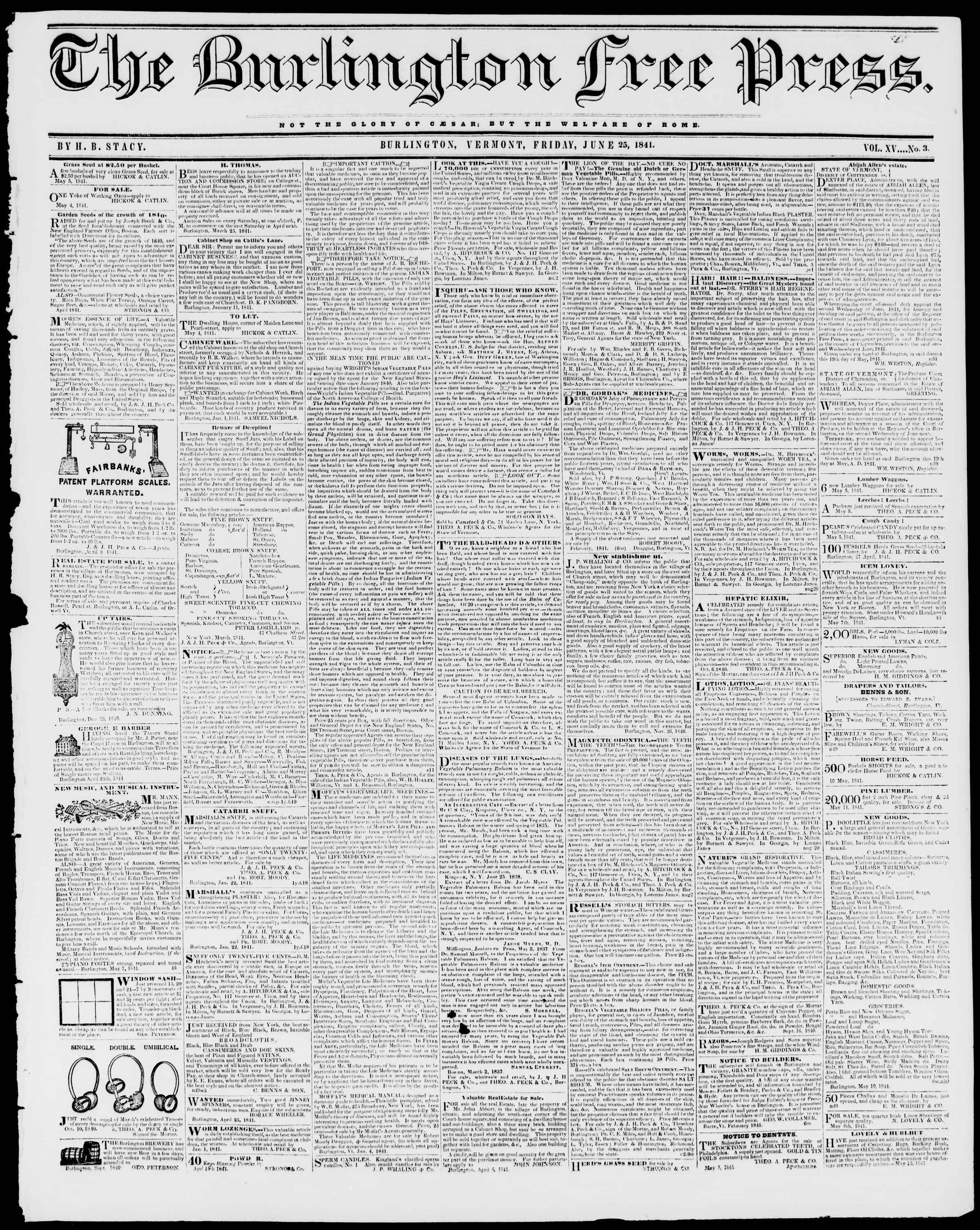 Newspaper of Burlington Free Press dated June 25, 1841 Page 1