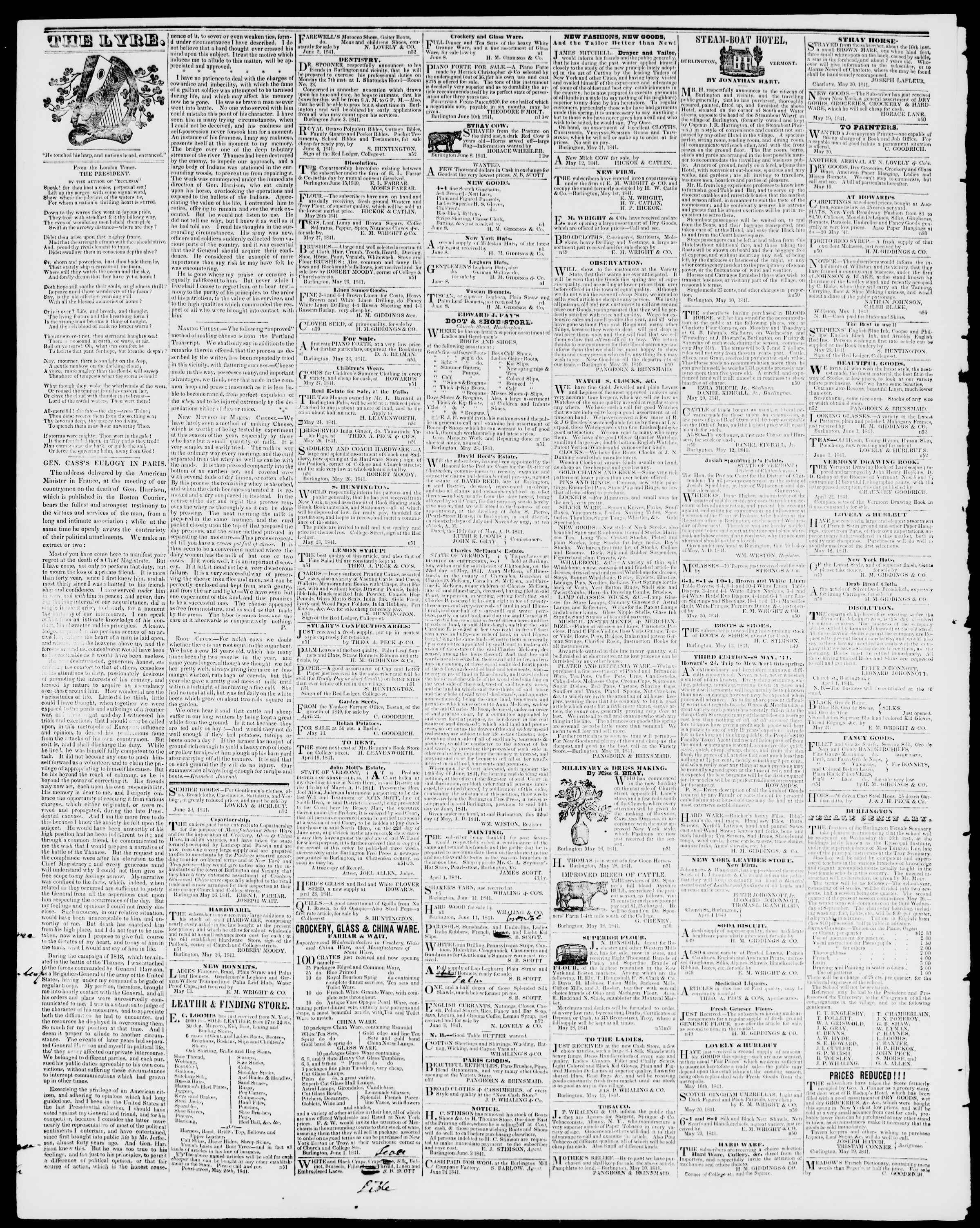 Newspaper of Burlington Free Press dated June 25, 1841 Page 4