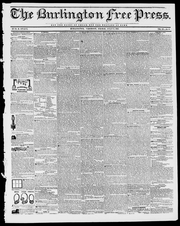 Newspaper of Burlington Free Press dated July 2, 1841 Page 1