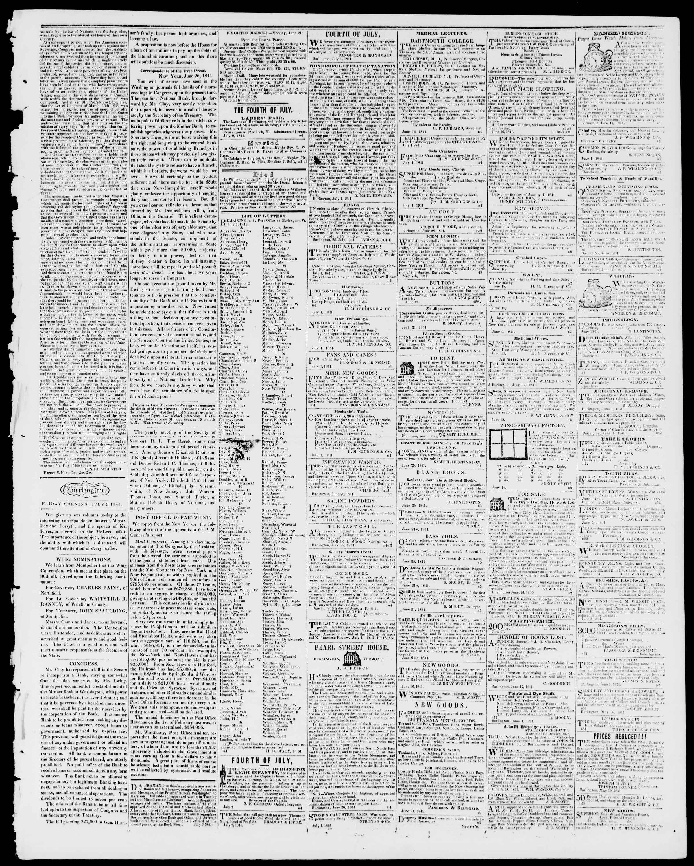 Newspaper of Burlington Free Press dated July 2, 1841 Page 3