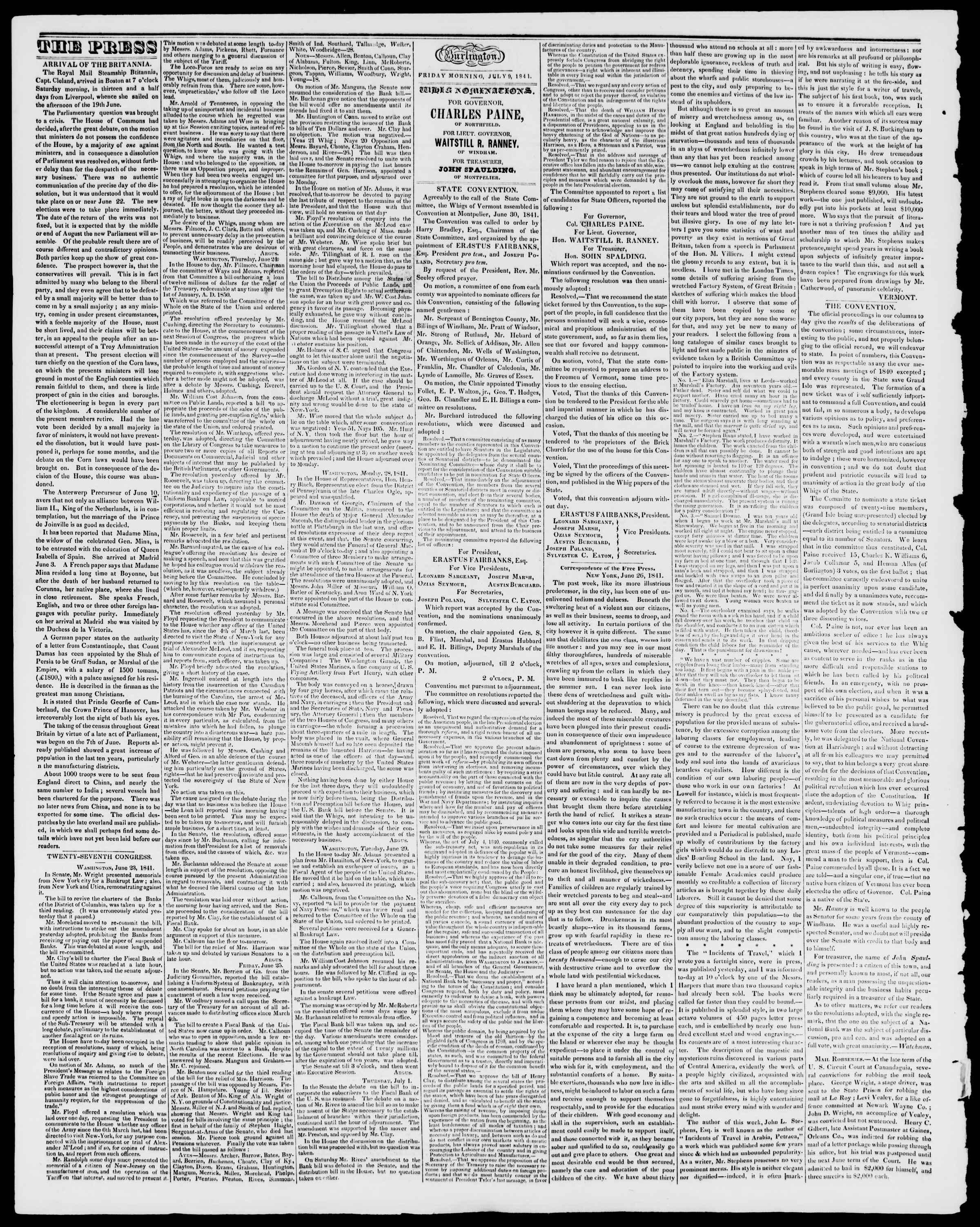 Newspaper of Burlington Free Press dated July 9, 1841 Page 2