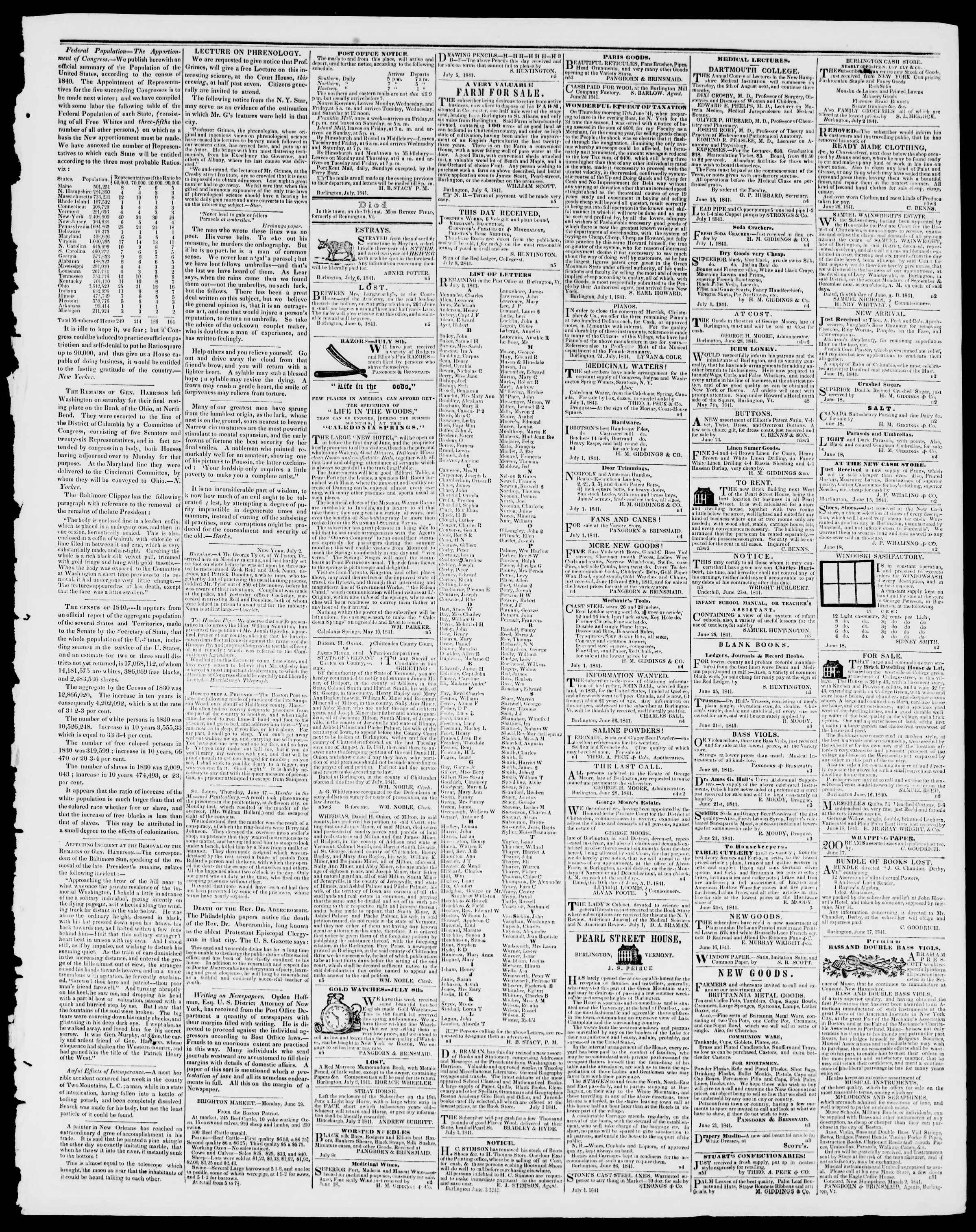 Newspaper of Burlington Free Press dated July 9, 1841 Page 3