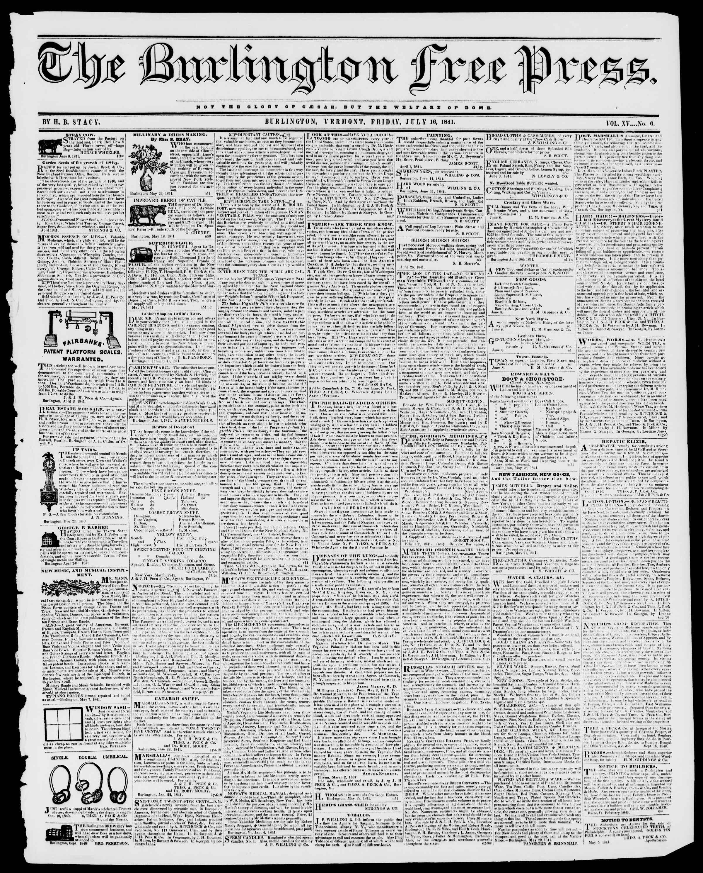 Newspaper of Burlington Free Press dated July 16, 1841 Page 1