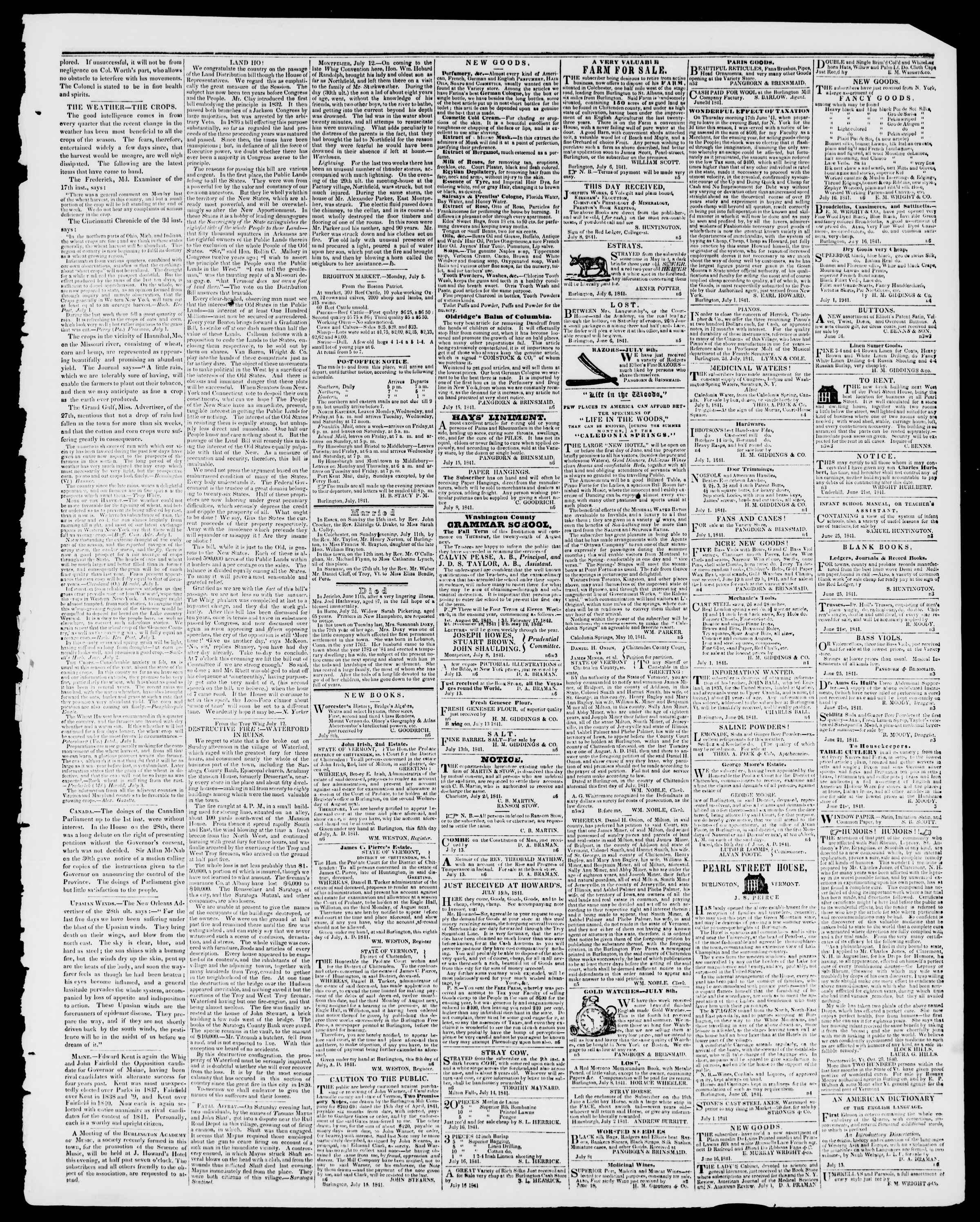Newspaper of Burlington Free Press dated July 16, 1841 Page 3