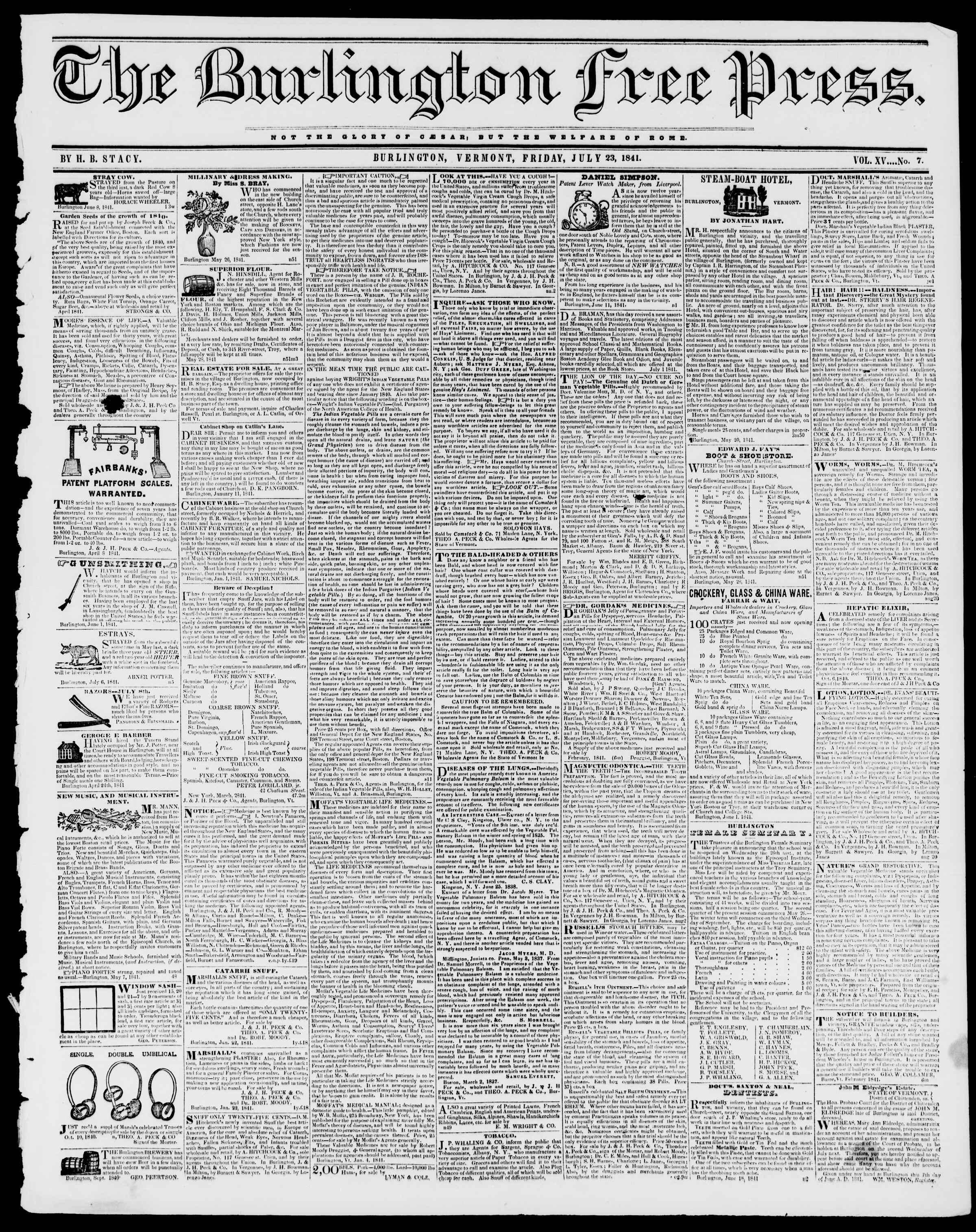 Newspaper of Burlington Free Press dated July 23, 1841 Page 1