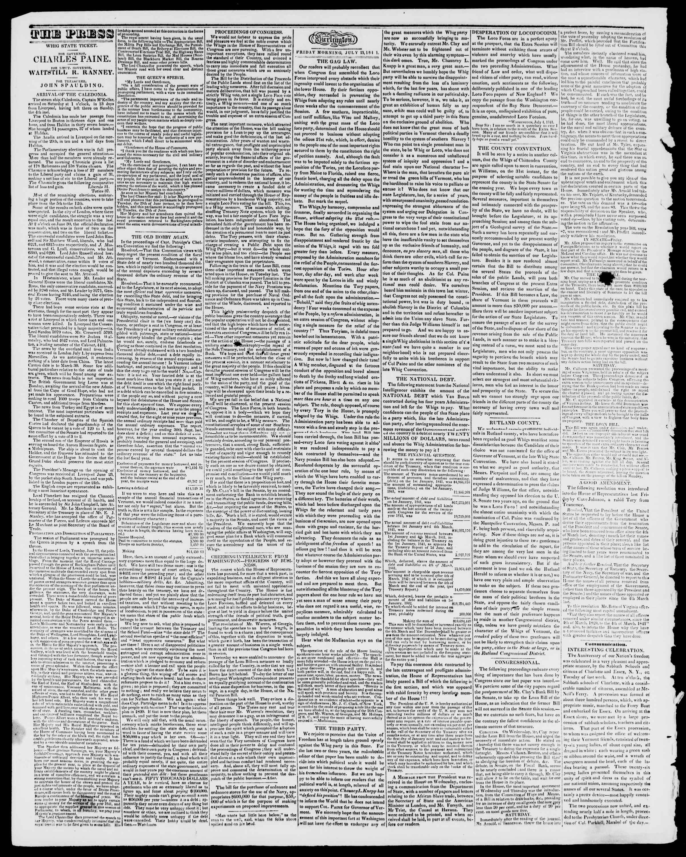Newspaper of Burlington Free Press dated July 23, 1841 Page 2