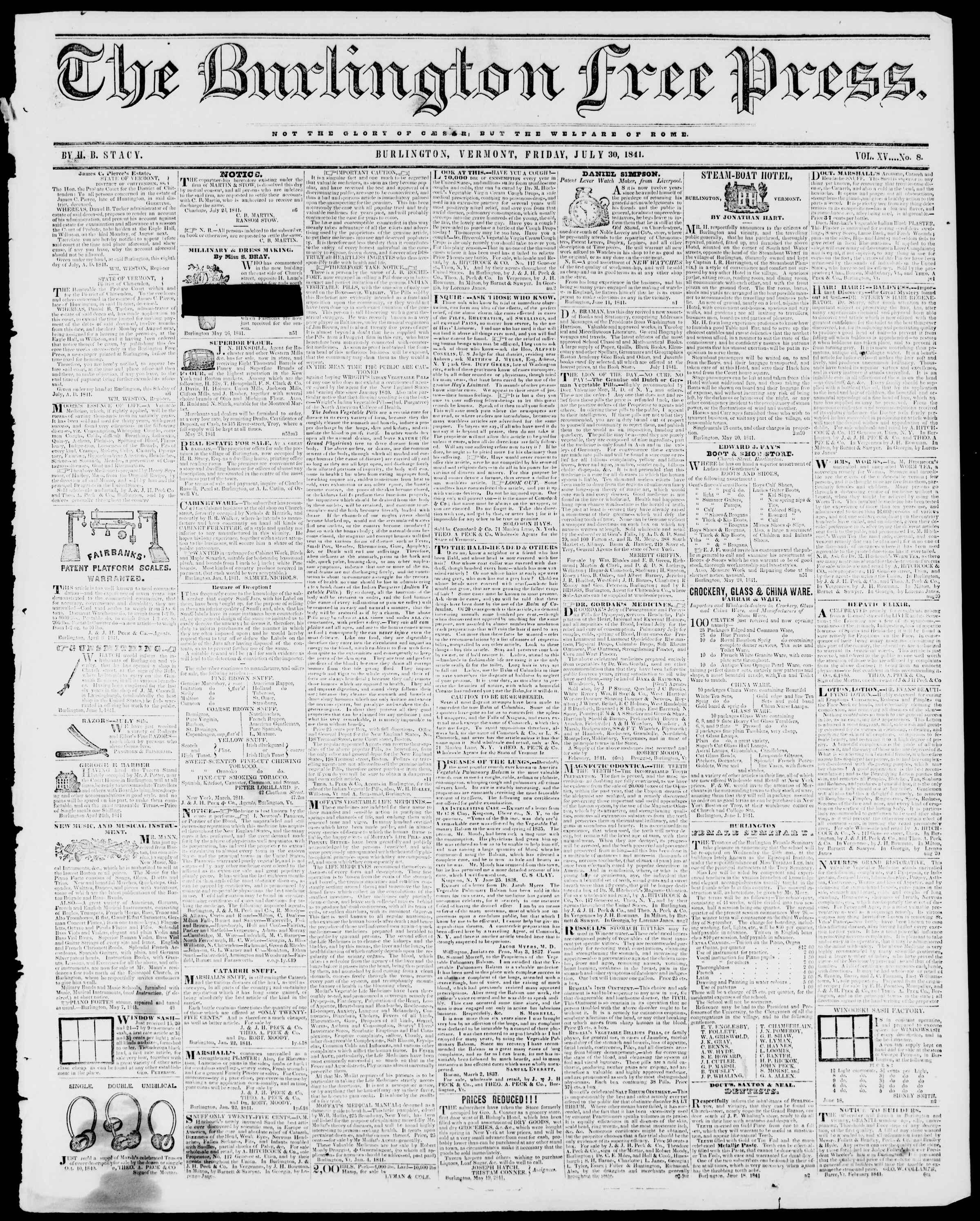 Newspaper of Burlington Free Press dated July 30, 1841 Page 1