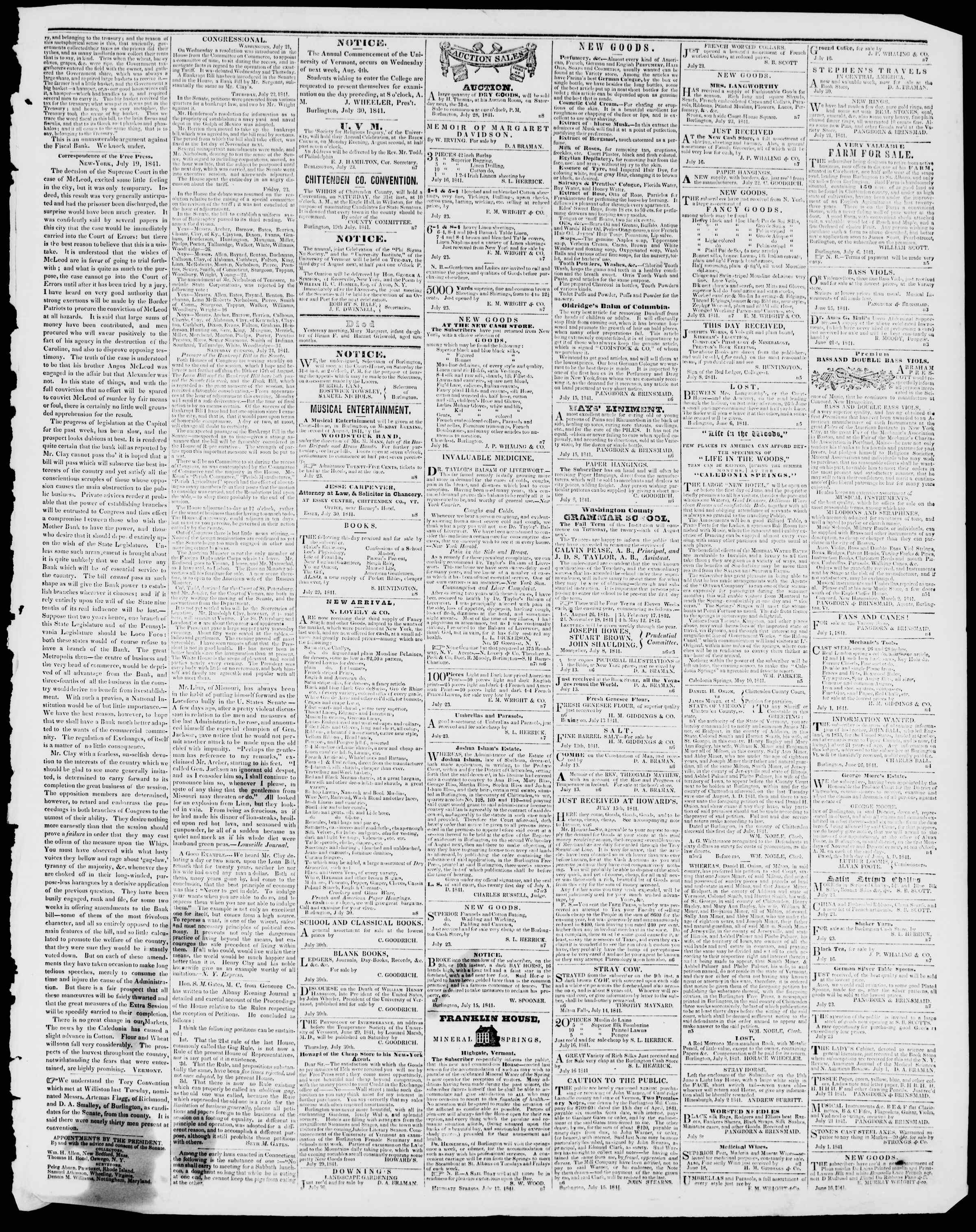 Newspaper of Burlington Free Press dated 30 Temmuz 1841 Page 3