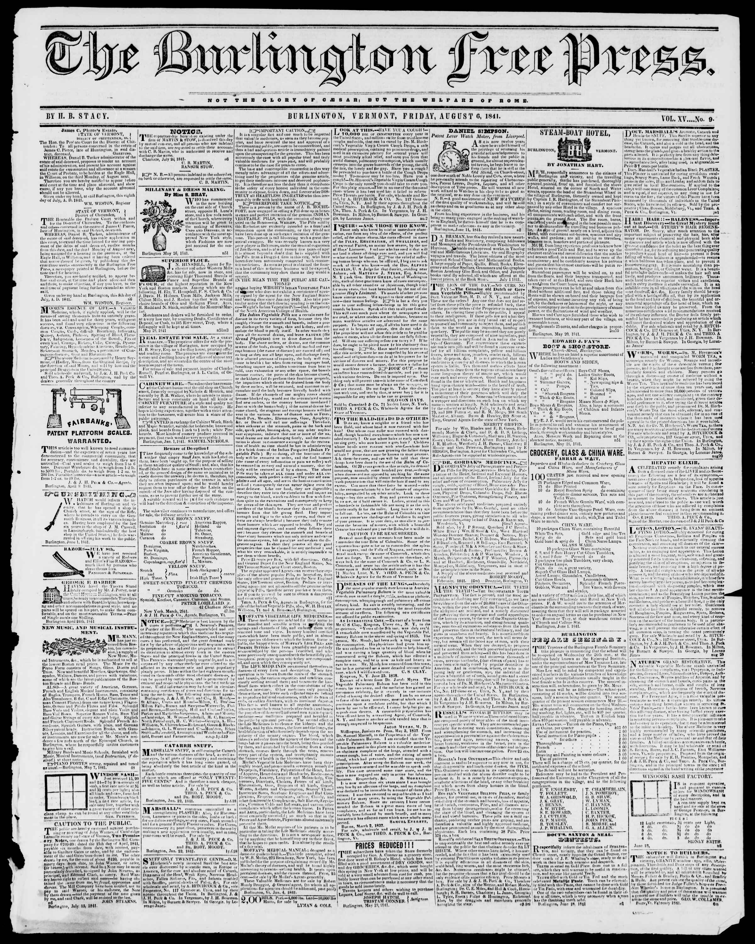 Newspaper of Burlington Free Press dated August 6, 1841 Page 1