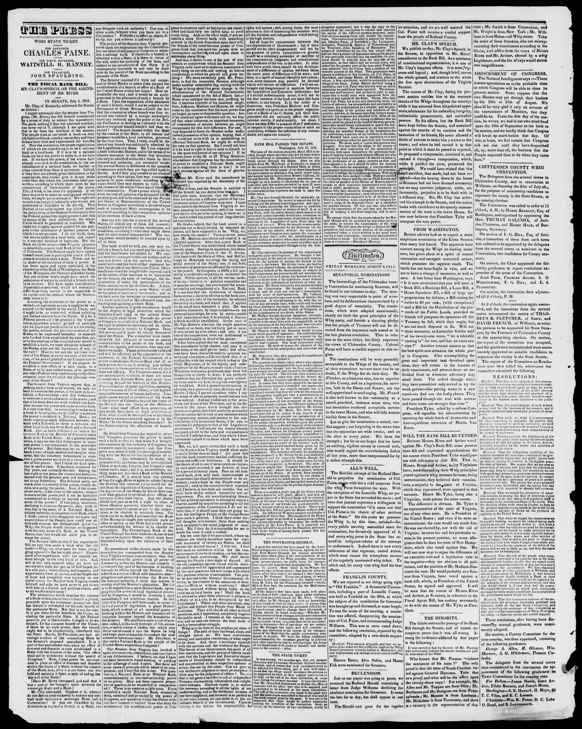 Newspaper of Burlington Free Press dated August 6, 1841 Page 2