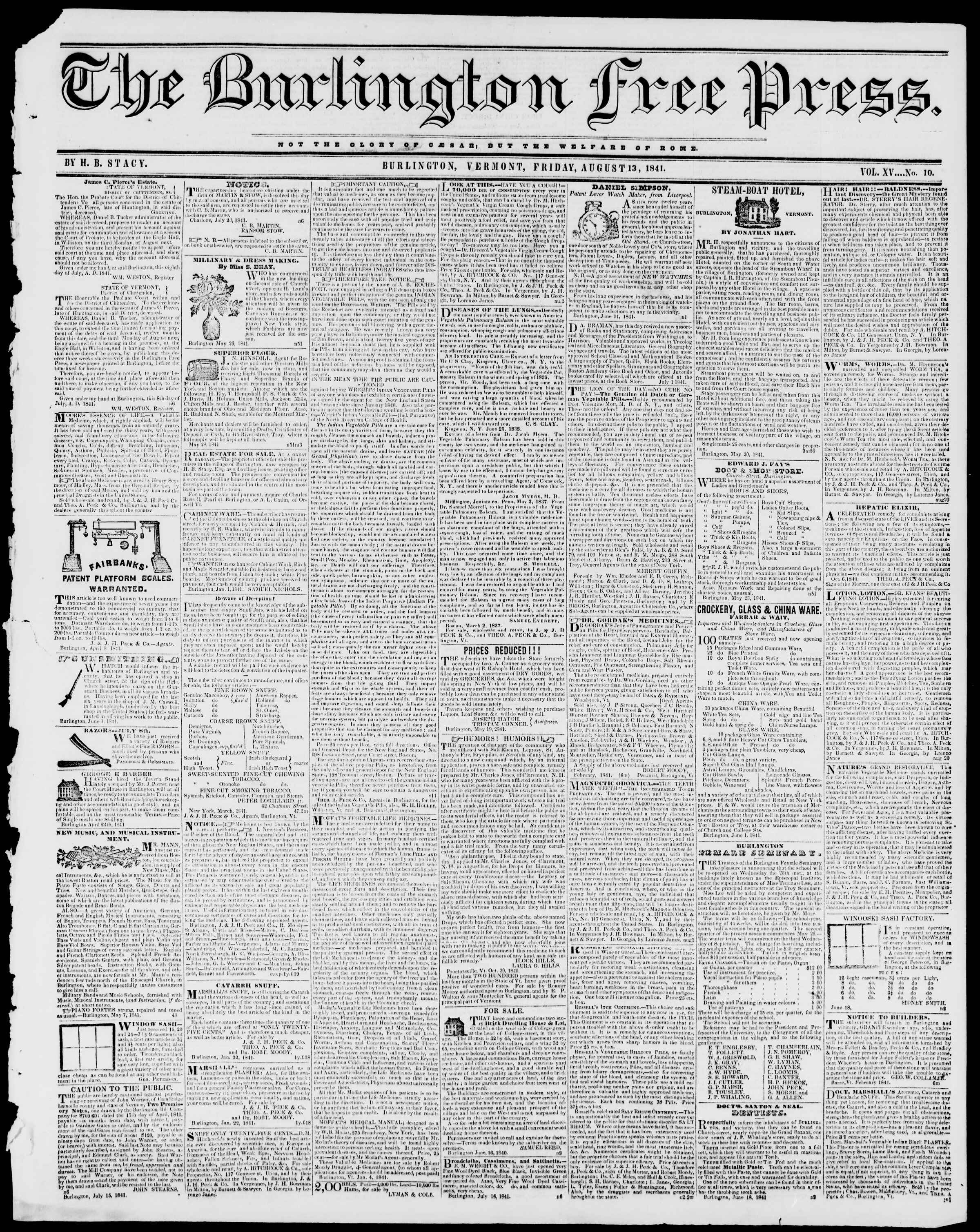 Newspaper of Burlington Free Press dated August 13, 1841 Page 1