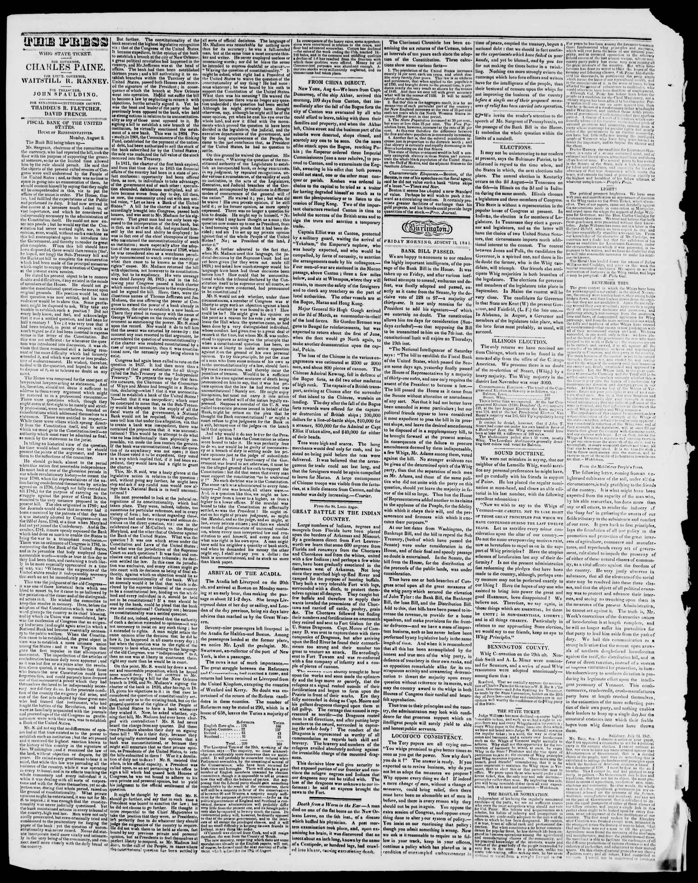 Newspaper of Burlington Free Press dated August 13, 1841 Page 2