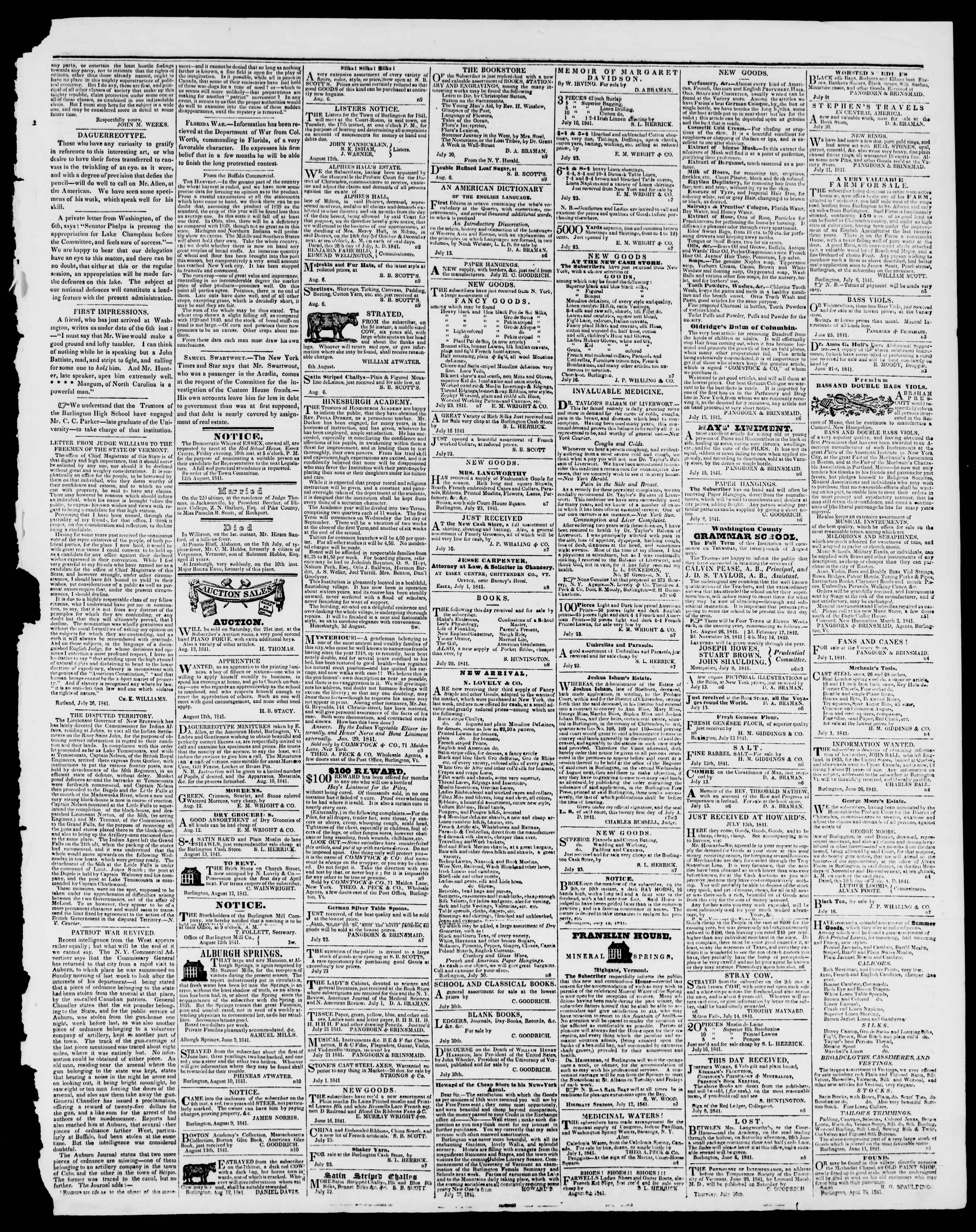 Newspaper of Burlington Free Press dated August 13, 1841 Page 3