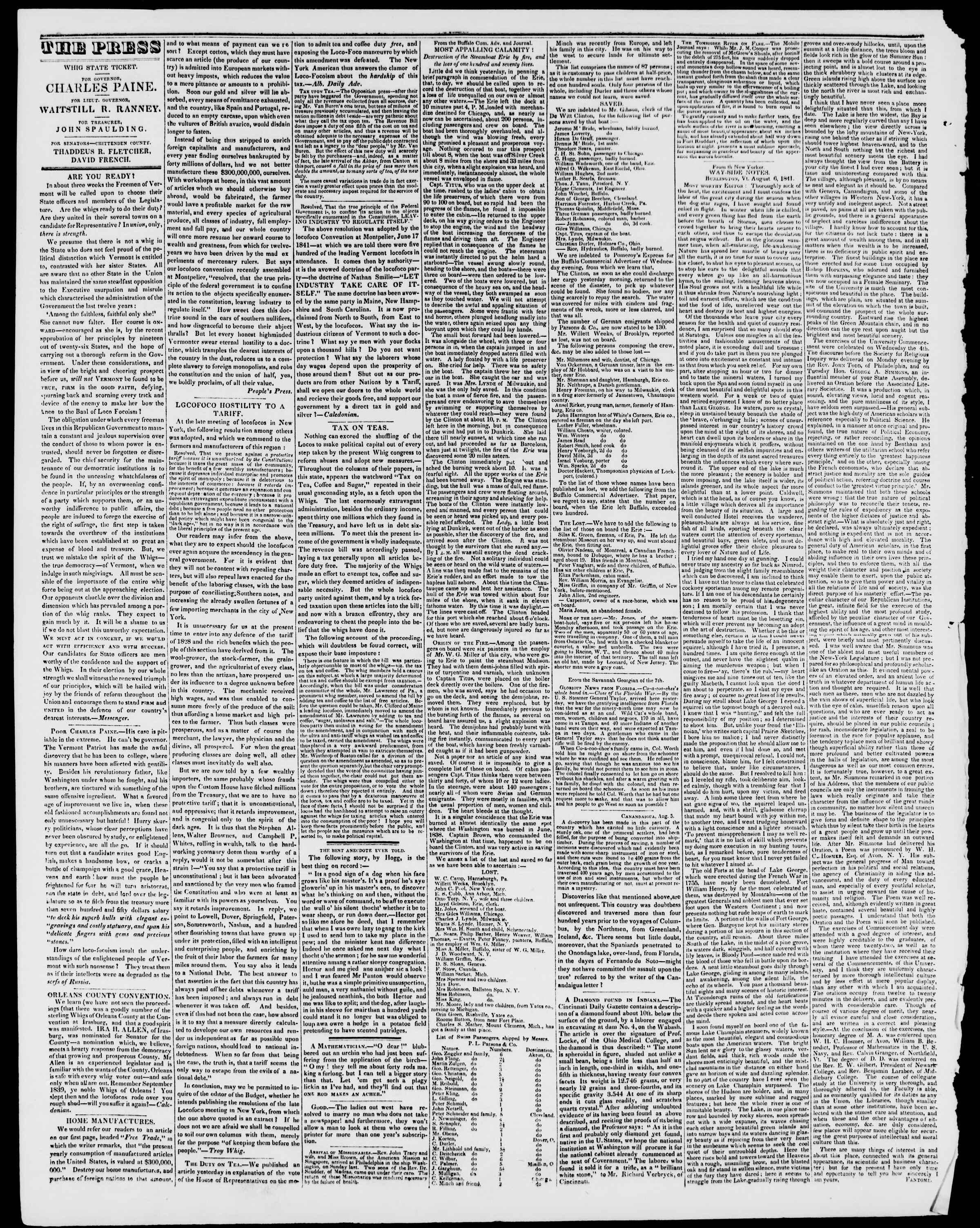 August 20, 1841 tarihli Burlington Free Press Gazetesi Sayfa 2