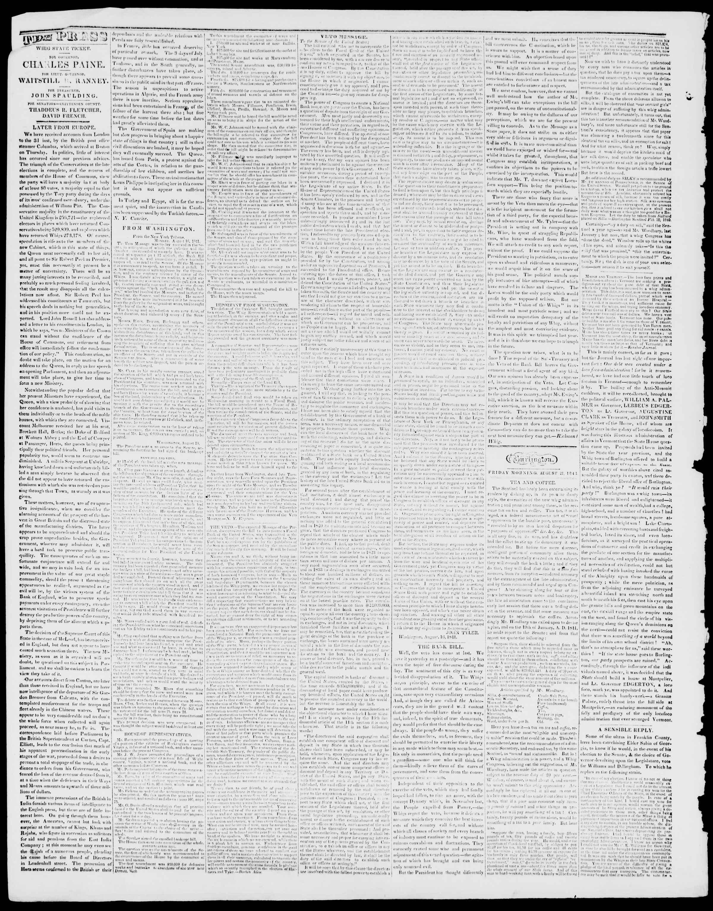 Newspaper of Burlington Free Press dated August 27, 1841 Page 2