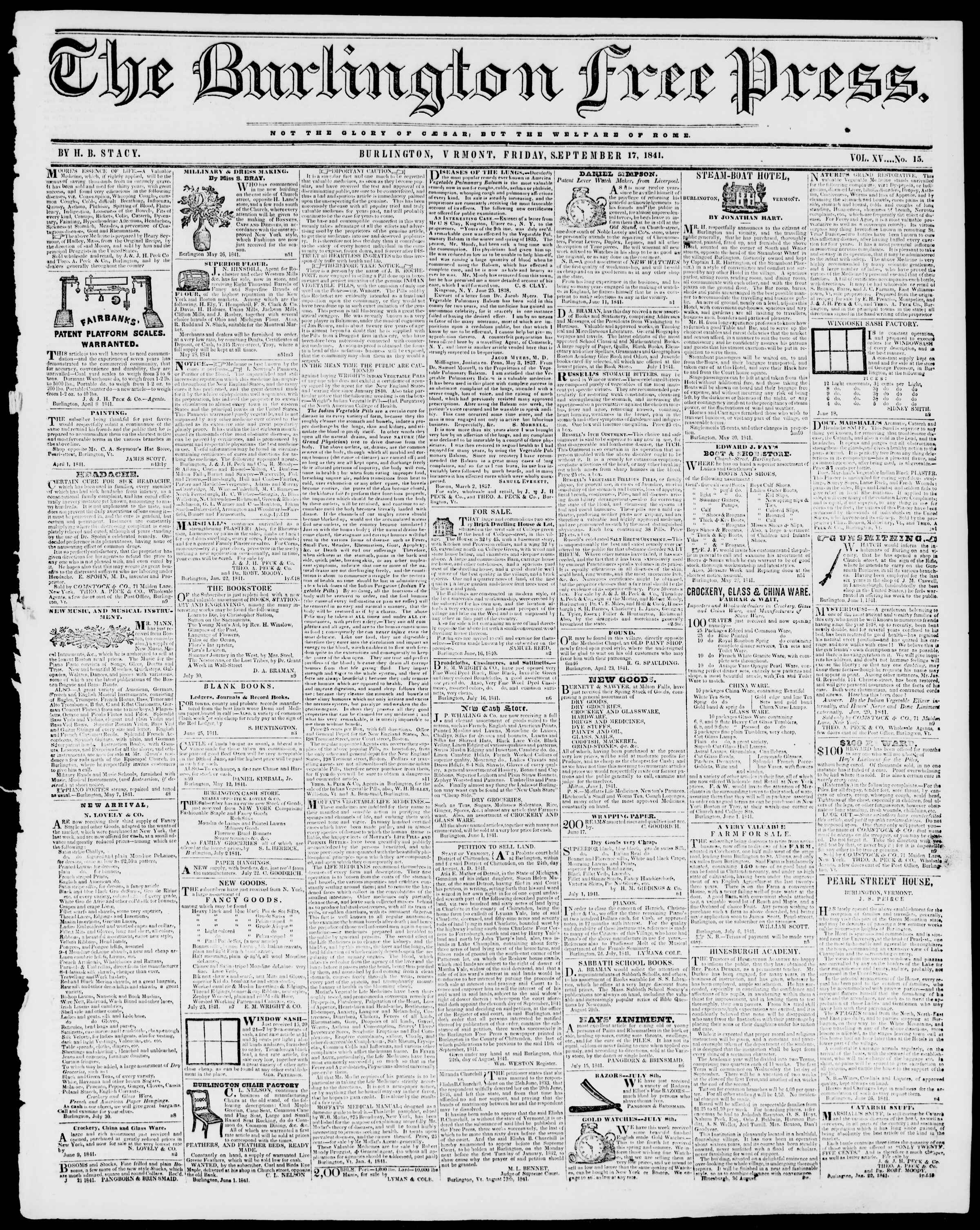Newspaper of Burlington Free Press dated 17 Eylül 1841 Page 1