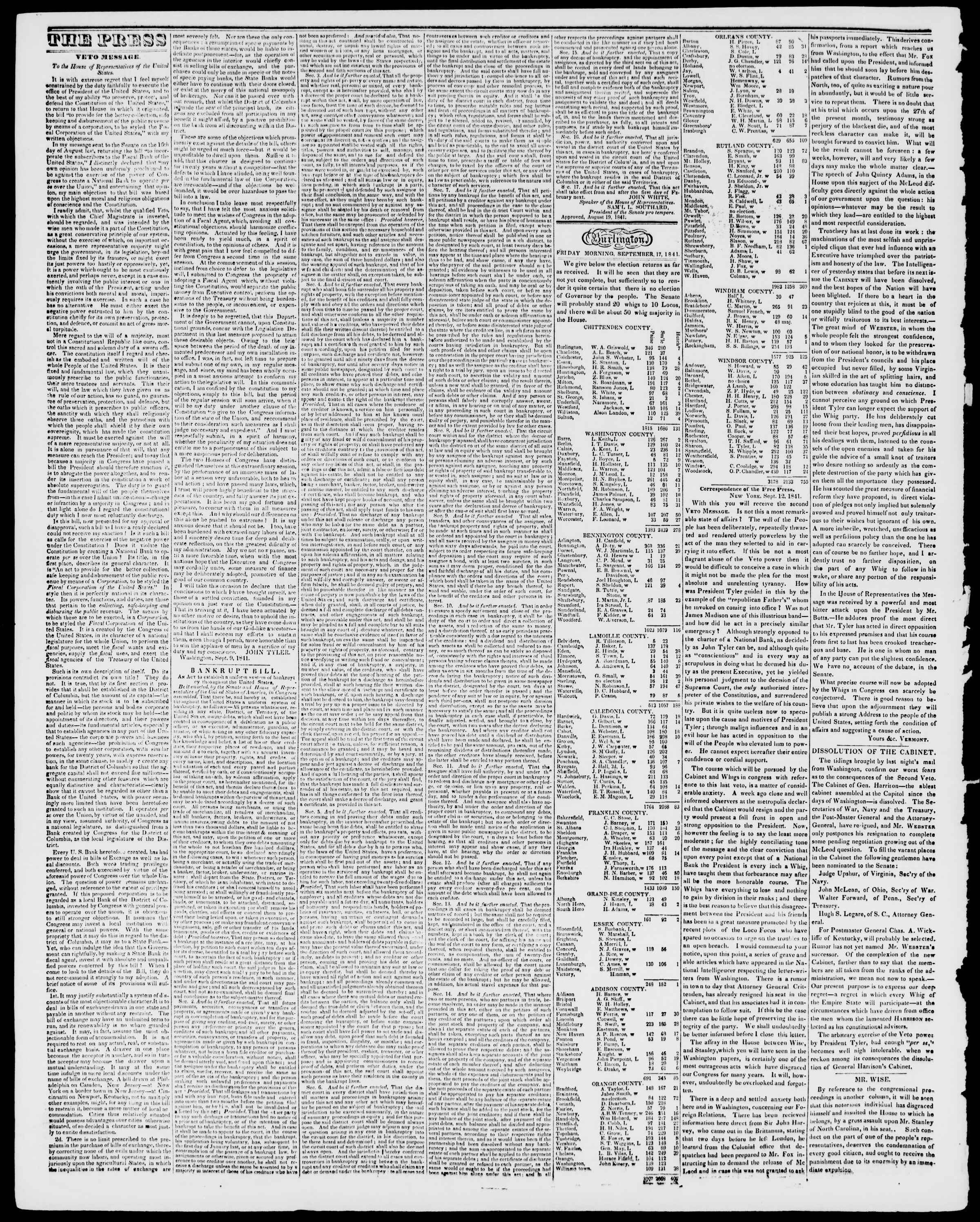 Newspaper of Burlington Free Press dated September 17, 1841 Page 2