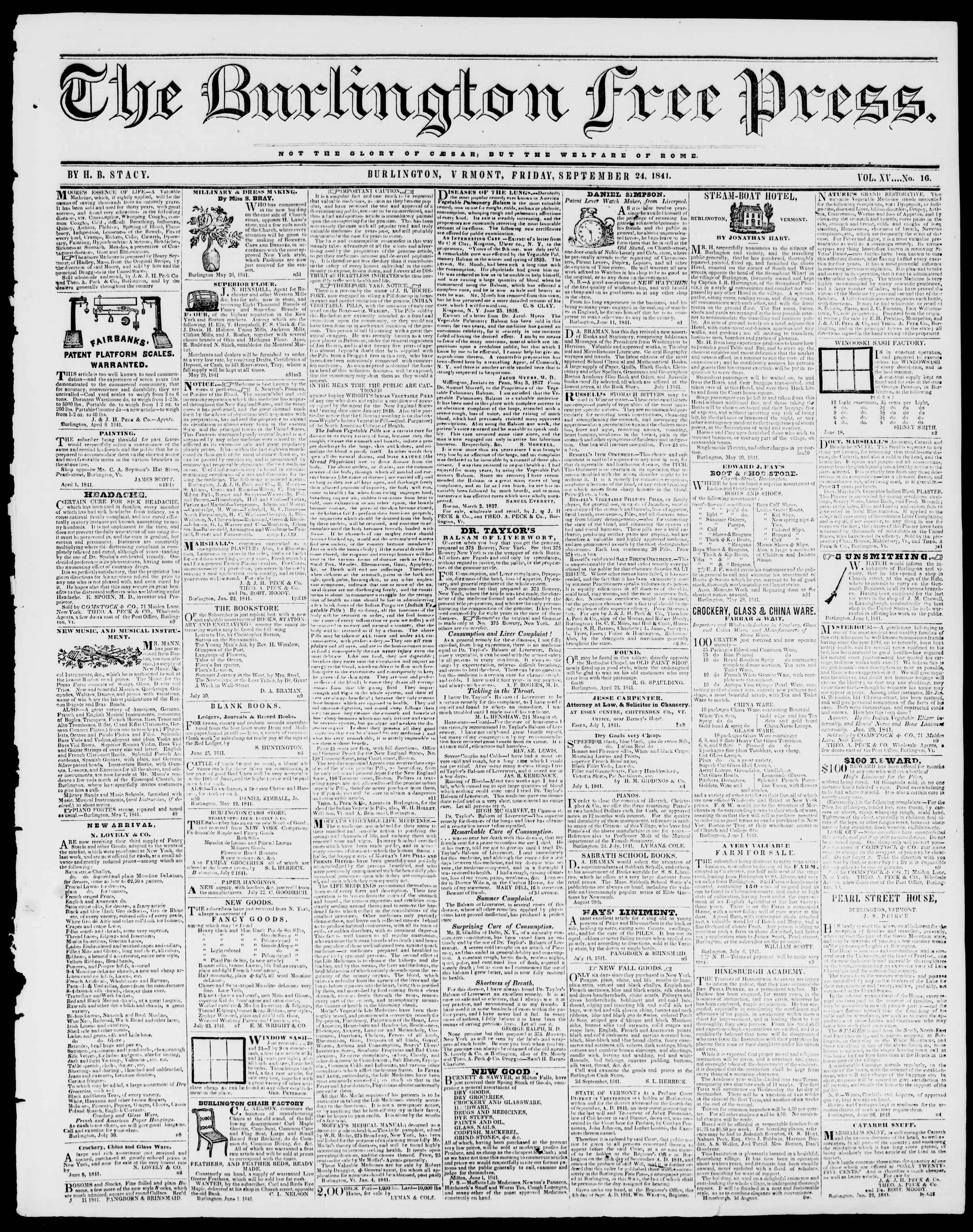 Newspaper of Burlington Free Press dated September 24, 1841 Page 1