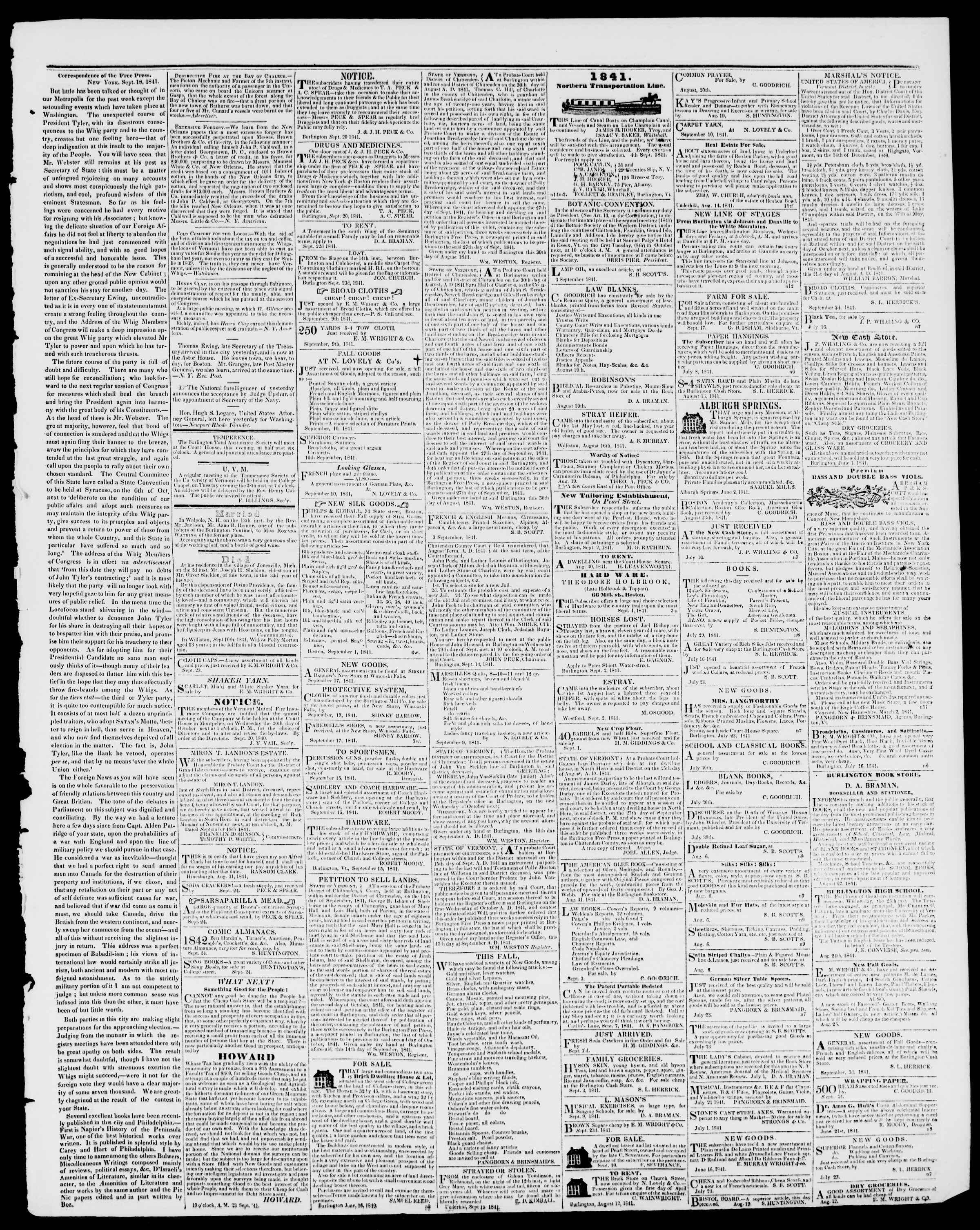 Newspaper of Burlington Free Press dated September 24, 1841 Page 3