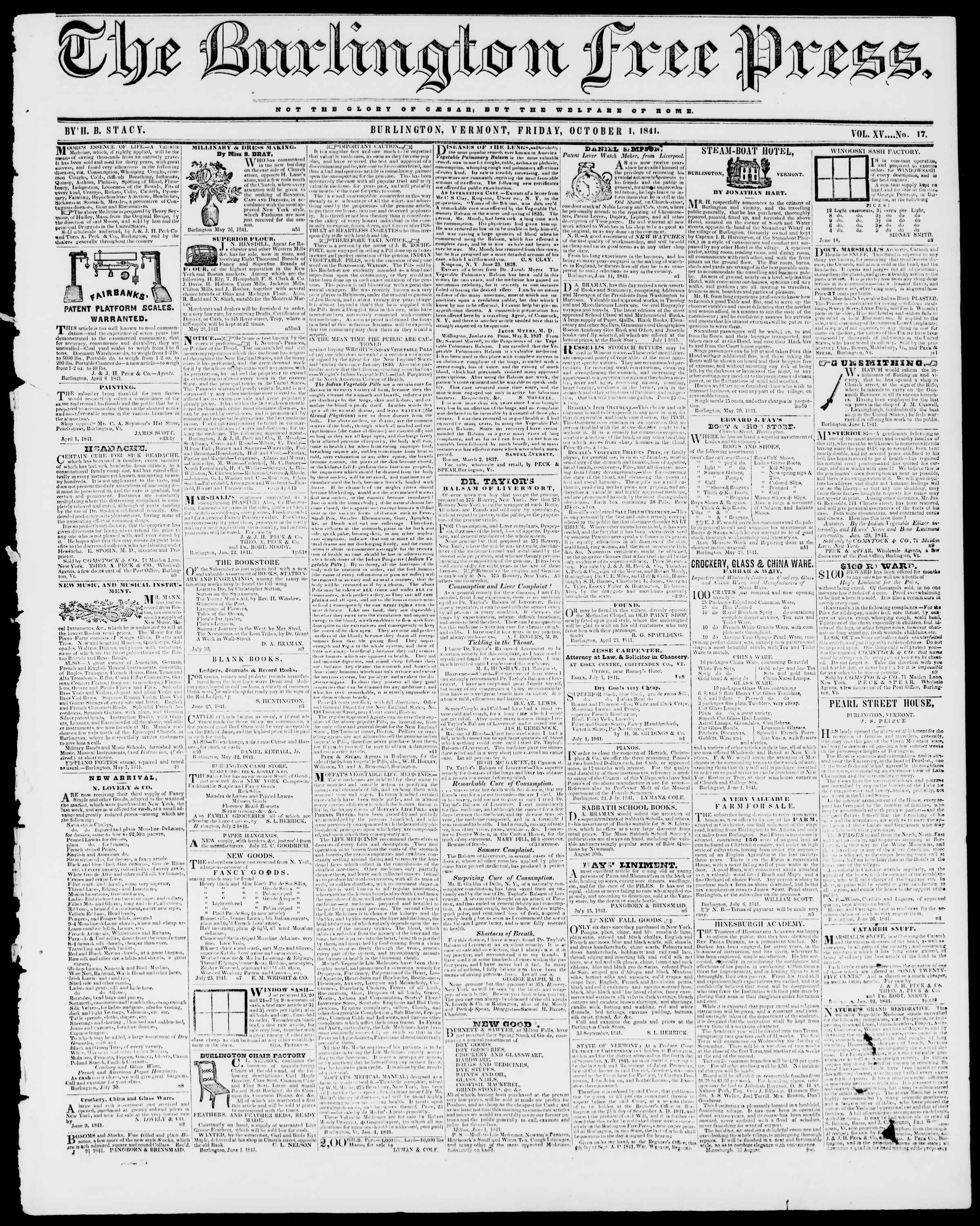 Newspaper of Burlington Free Press dated October 1, 1841 Page 1