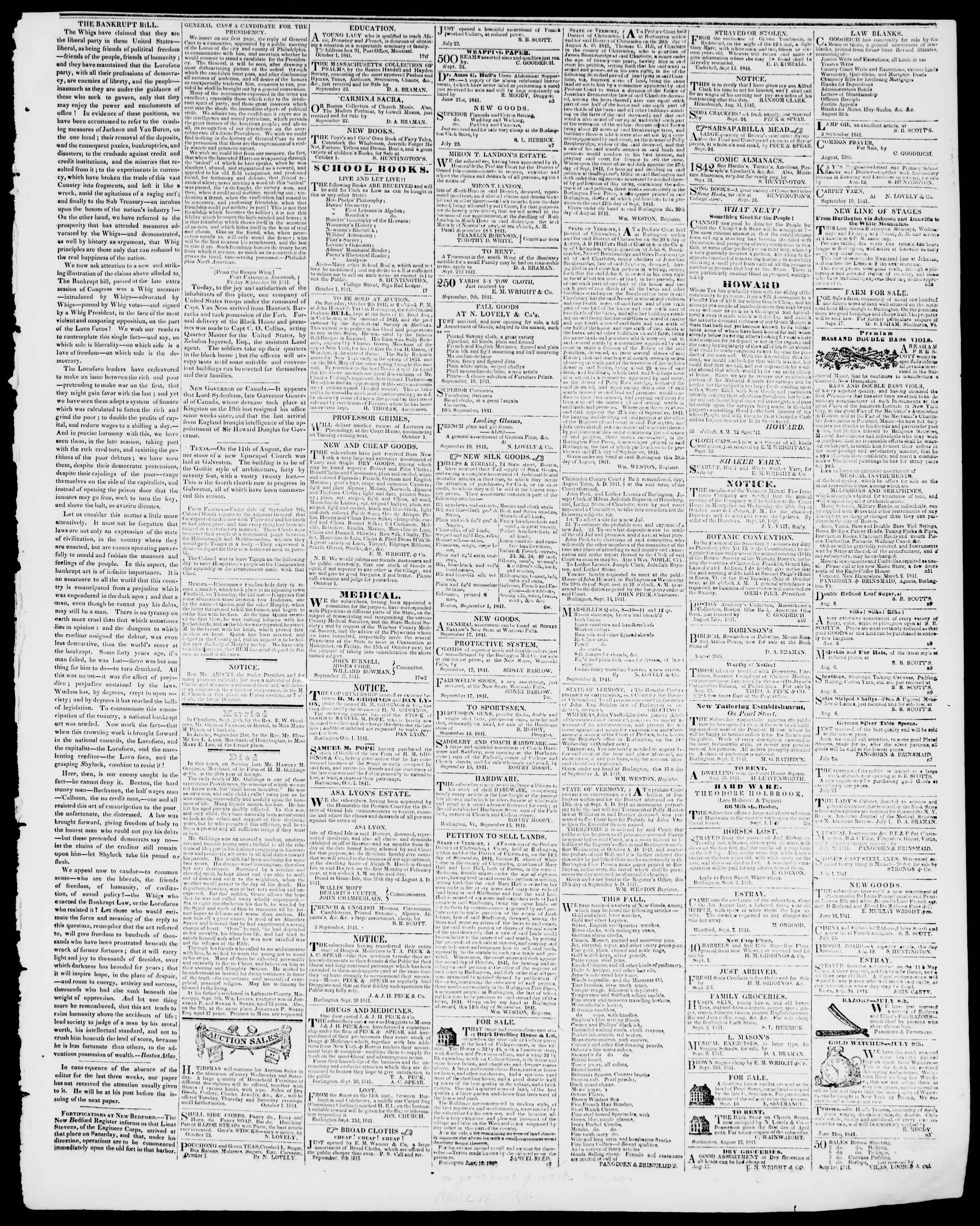 Newspaper of Burlington Free Press dated October 1, 1841 Page 3