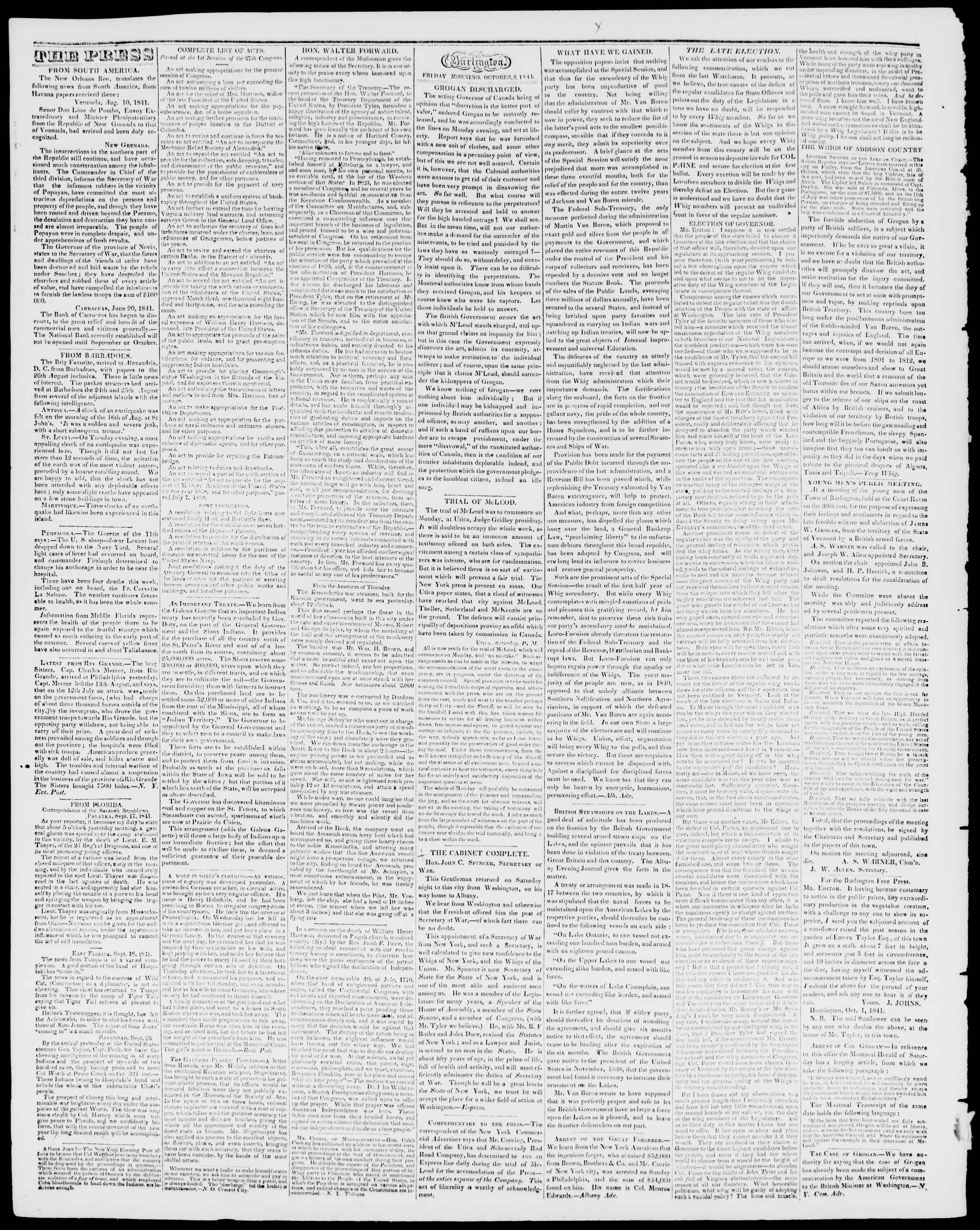Newspaper of Burlington Free Press dated October 8, 1841 Page 2